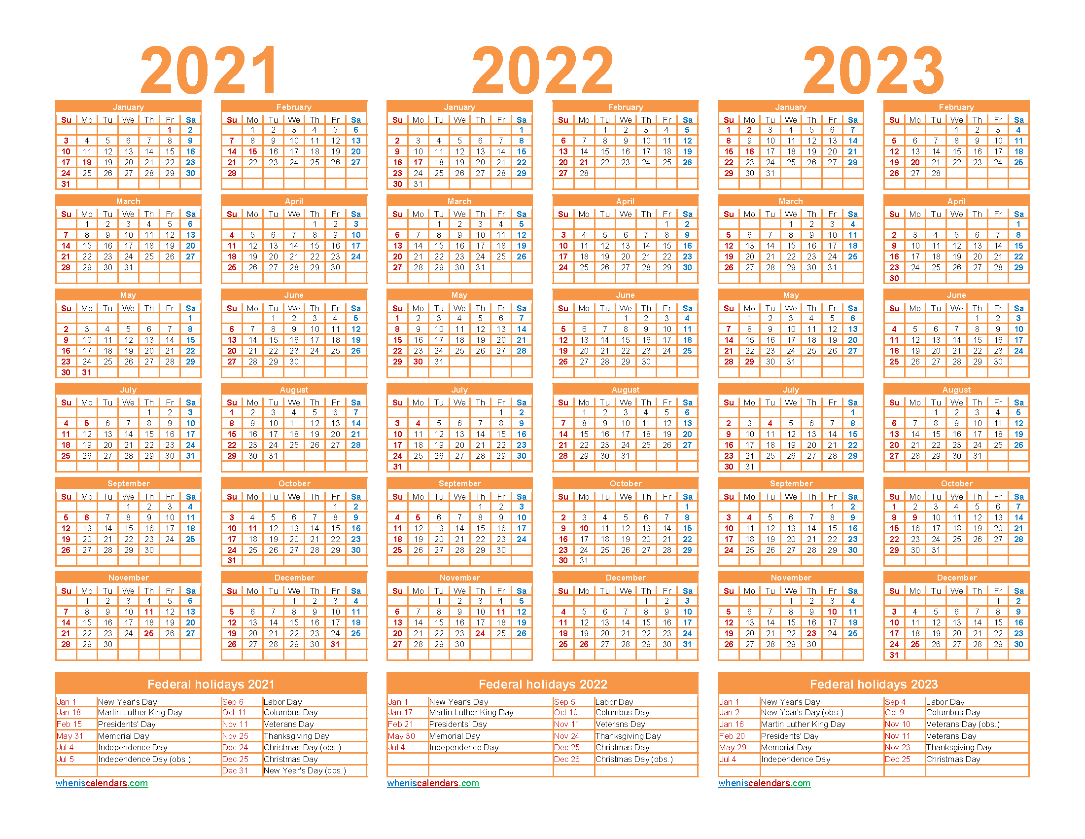 Free Printable 2021 To 2023 Calendar With Holidays with Three Year Printable Calendar 2021 To 2023