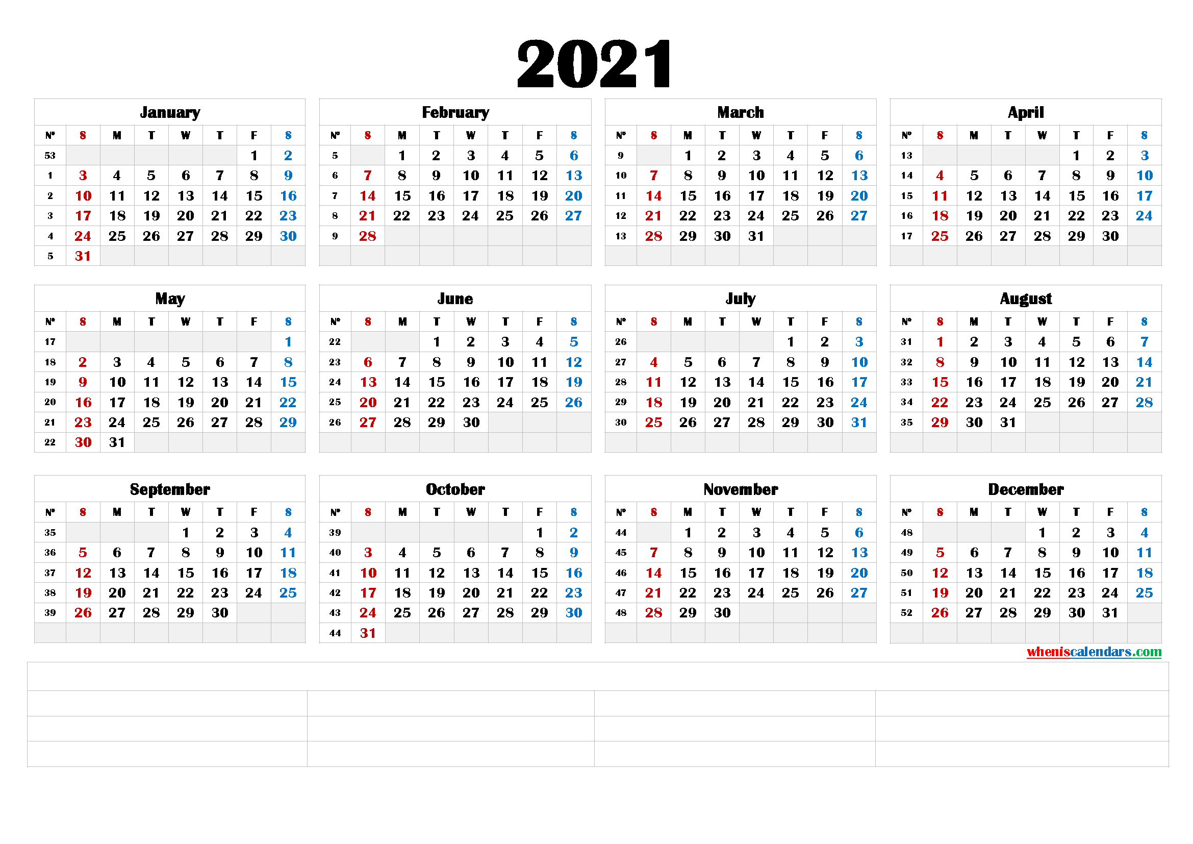 Free Printable 2021 Yearly Calendar (6 Templates) – Free inside 2021 Printable Yearly Calendar Template