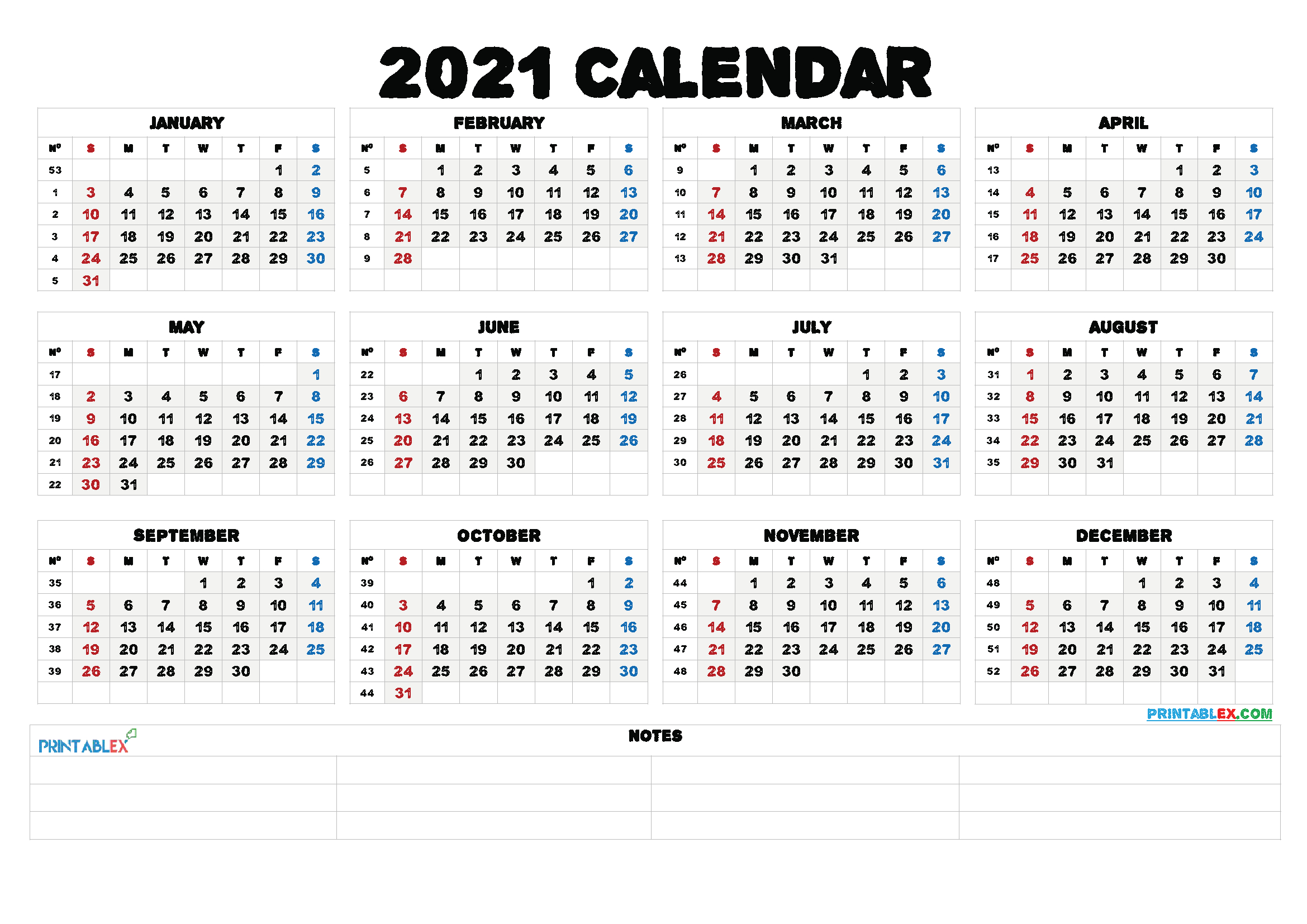 Free Printable 2021 Yearly Calendar With Week Numbers – Free inside Monthly Calendar By Week Number 2021