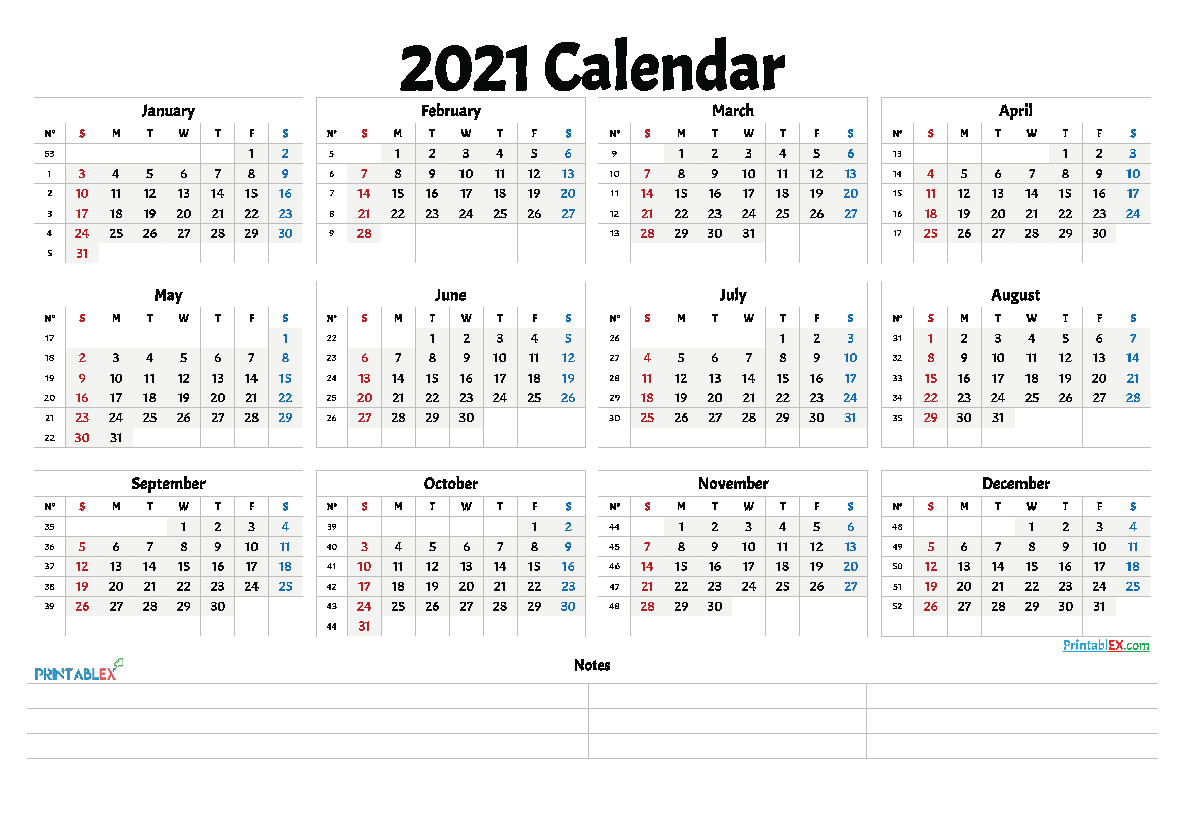 Free Printable 2021 Yearly Calendar With Week Numbers throughout Monthly Calendar By Week Number 2021