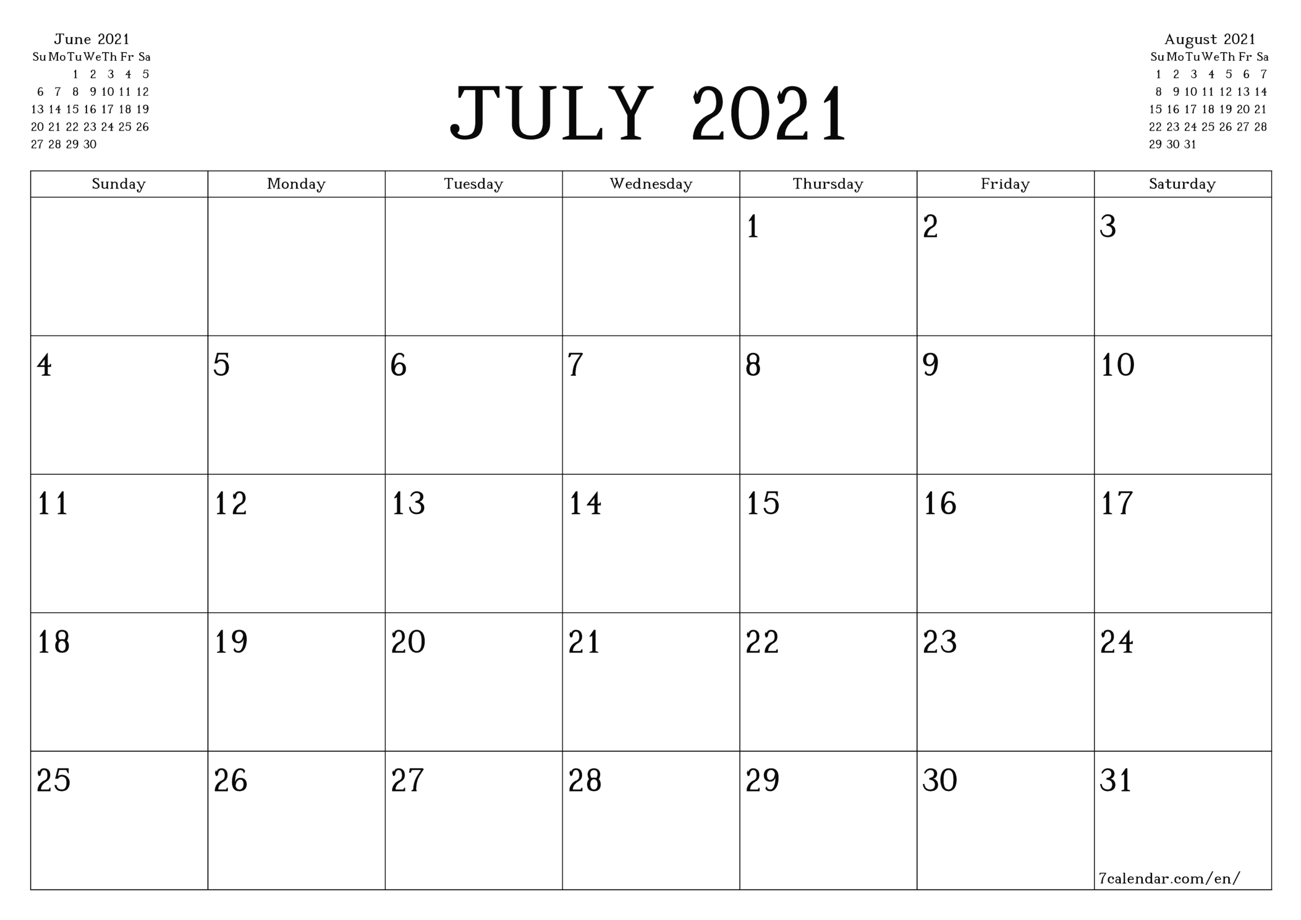 Free Printable Blank Monthly Calendar And Planner For July pertaining to Shift Schedule Jan 2021
