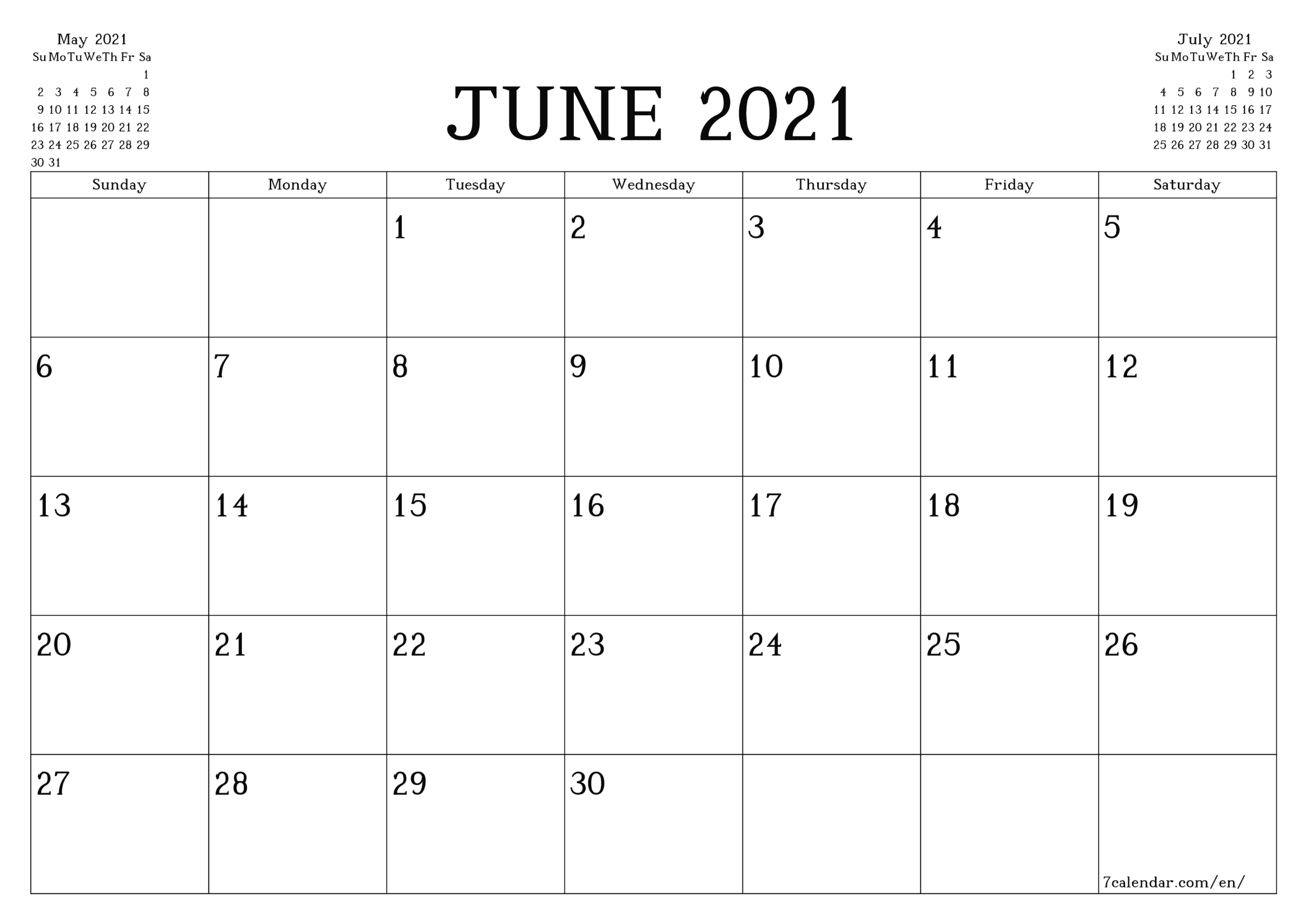 Free Printable Blank Monthly Calendar And Planner For June with Printable Blank Fill In Monthly Calendar 2021