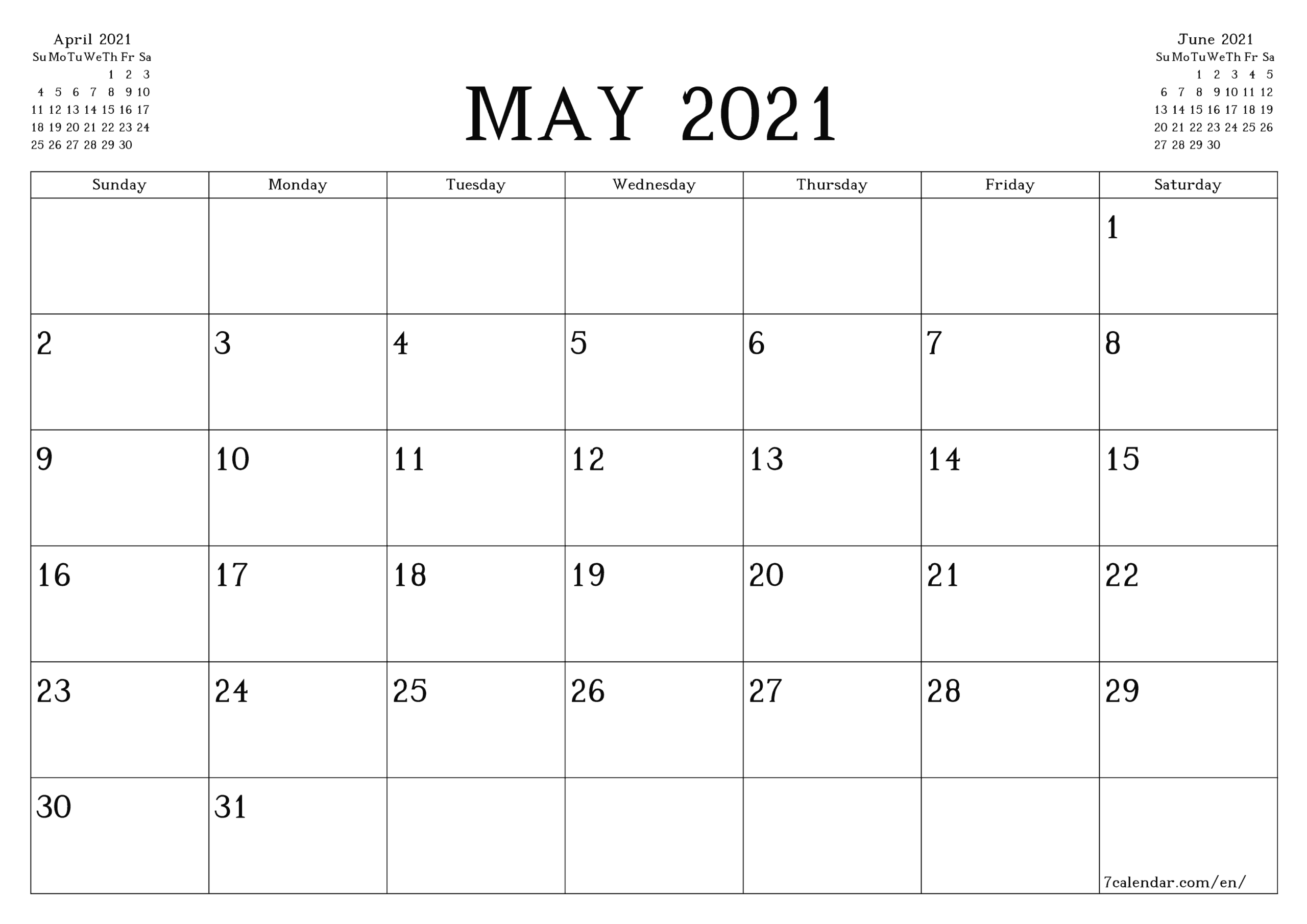 Free Printable Blank Monthly Calendar And Planner For May for 2021 Monthly Planner 12 Month