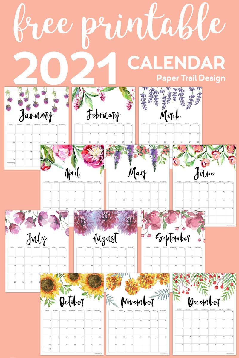 Free Printable Calendar 2021 - Floral | Paper Trail Design throughout Waterproof Calendar 2021