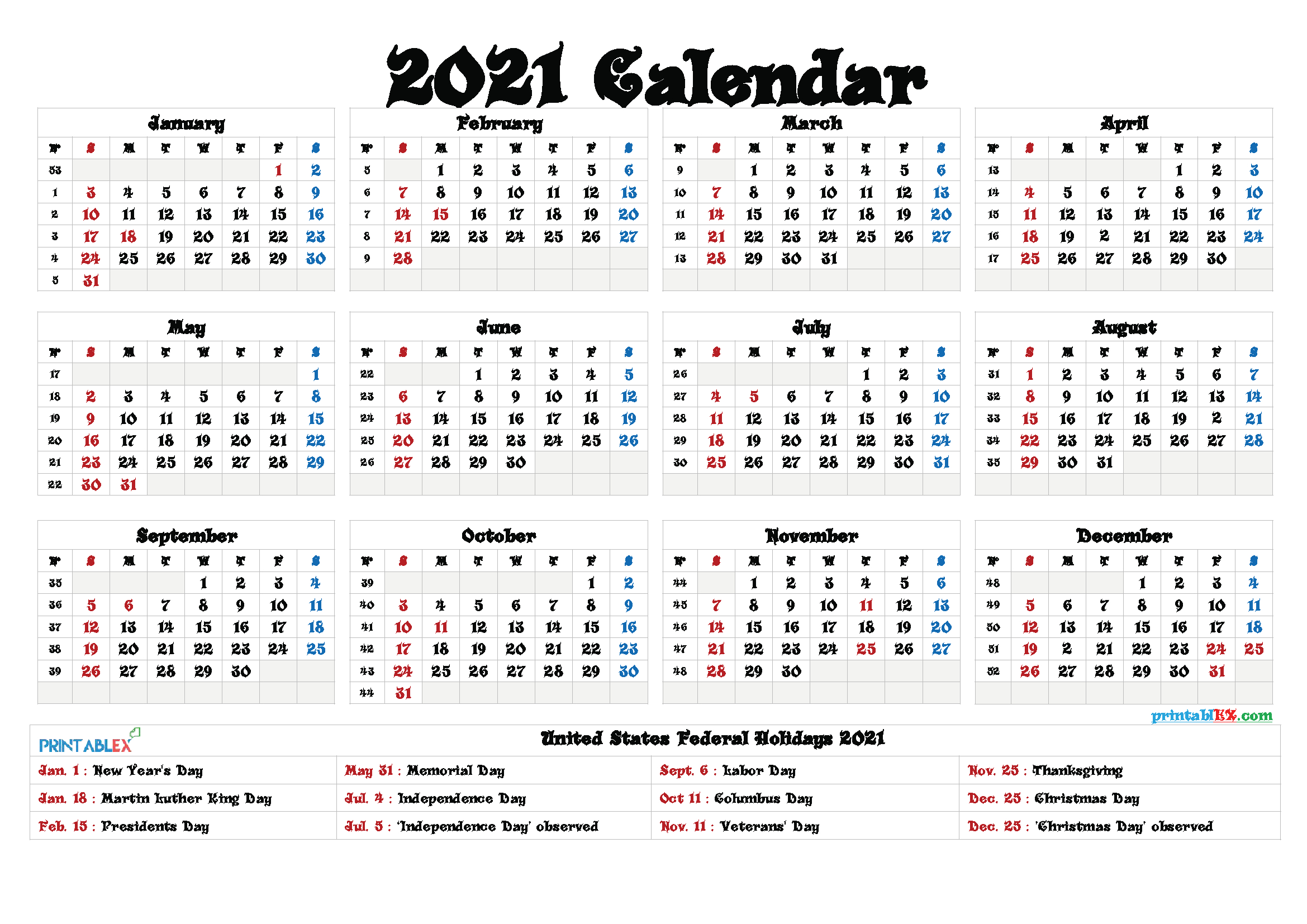 Free Printable Calendar 2021 intended for Federal Government Calendar Printable