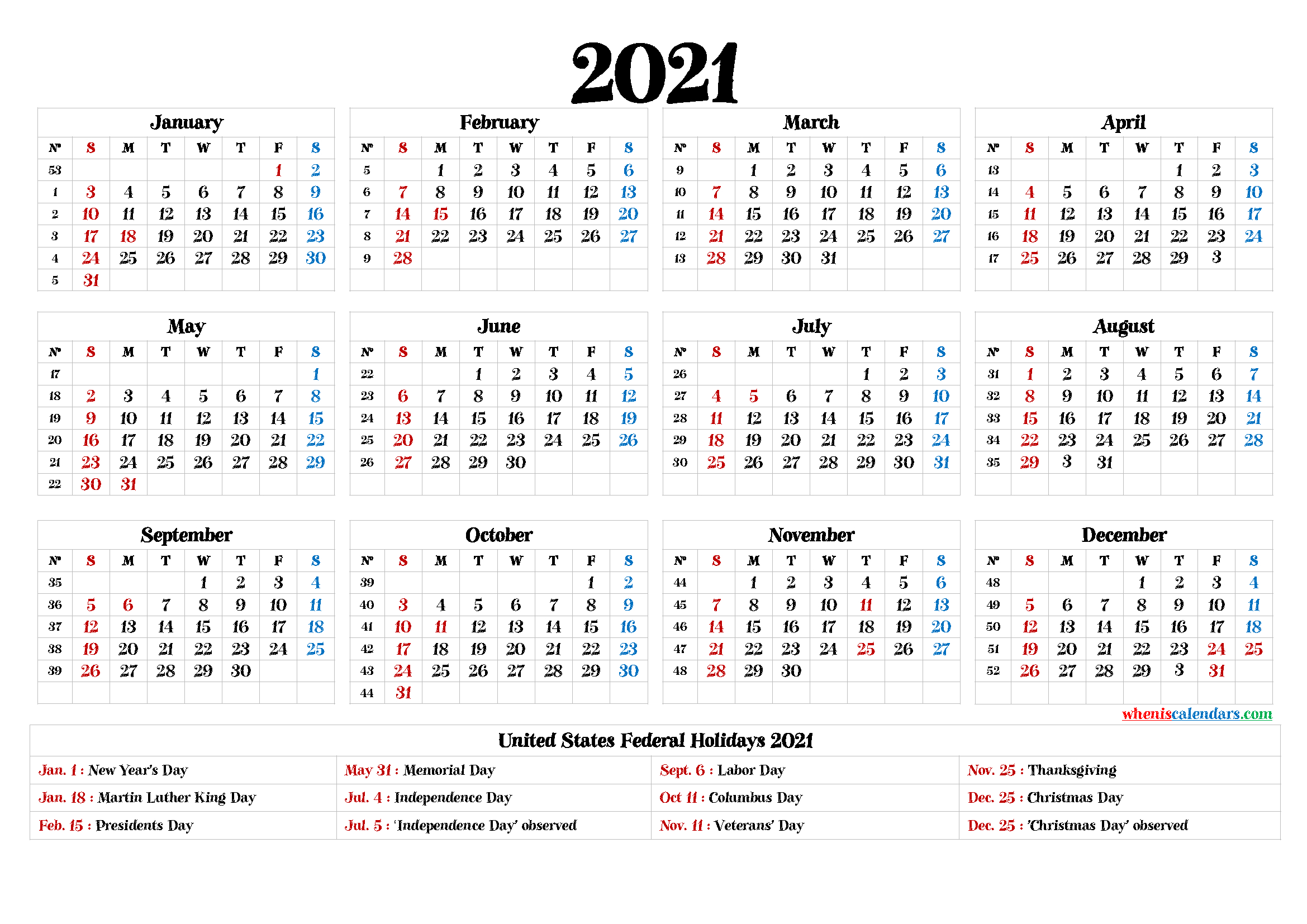 Free Printable Calendar 2021 Pdf - 12 Templates intended for Printable Calendar 2021 And Fill On