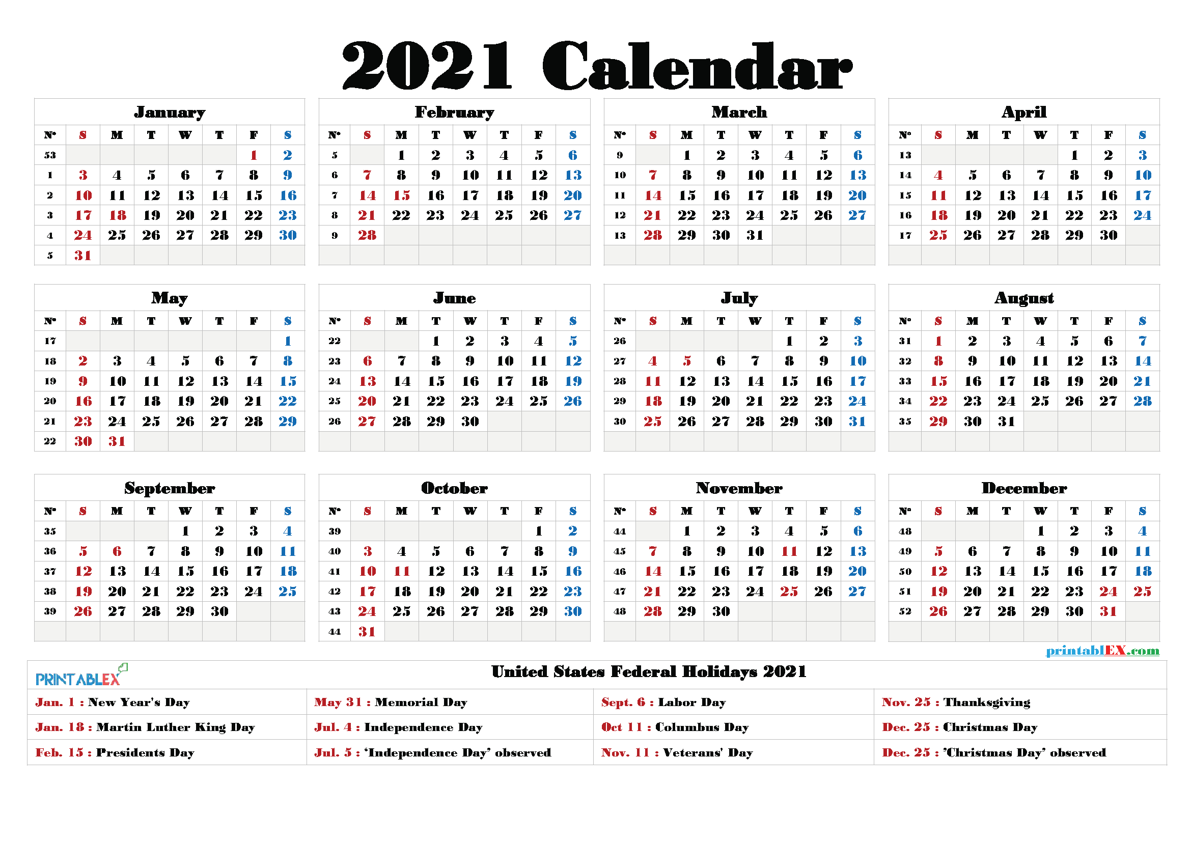 Free Printable Calendar 2021 regarding Federal Government Calendar 2021 Printable