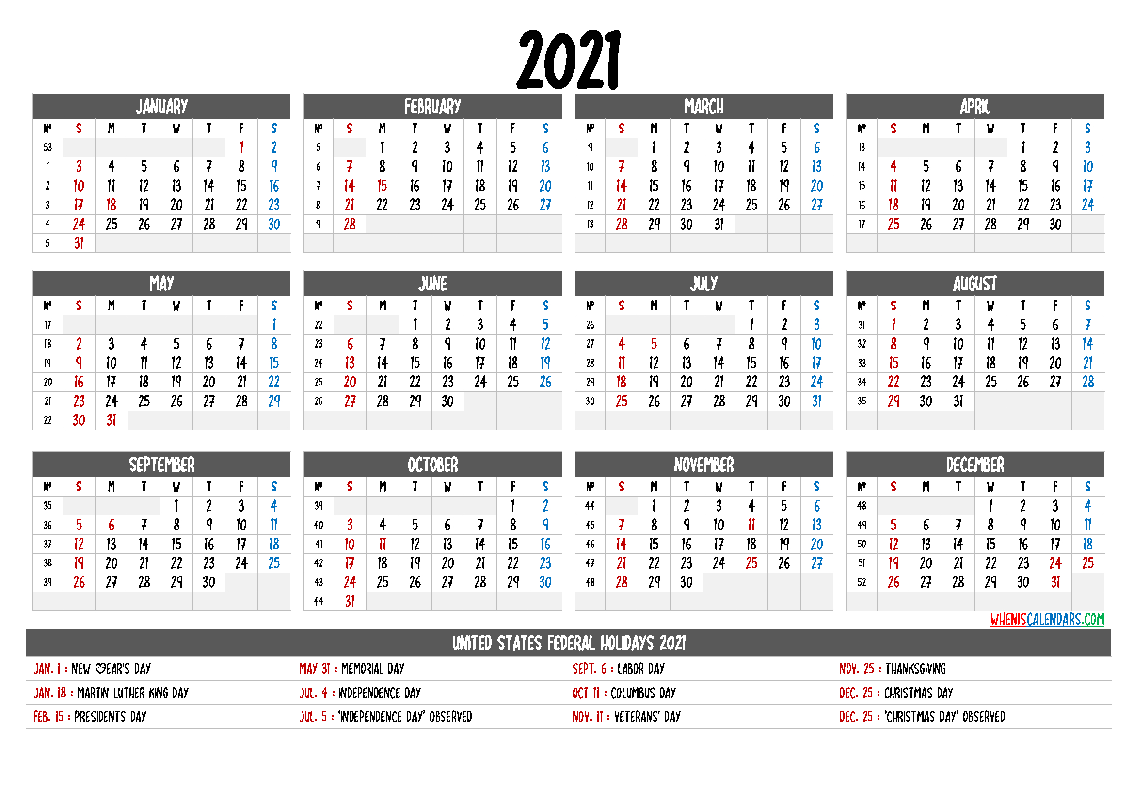 Free Printable Calendar 2021 With Holidays - 12 Templates inside 2021 Printable Calendar With Boxes Yearly