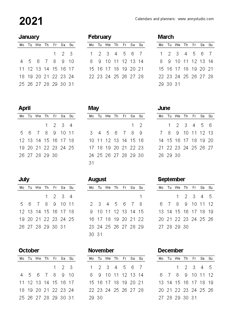 Free Printable Calendars And Planners 2021, 2022 And 2023 inside Pocket Calendar Printable 2021