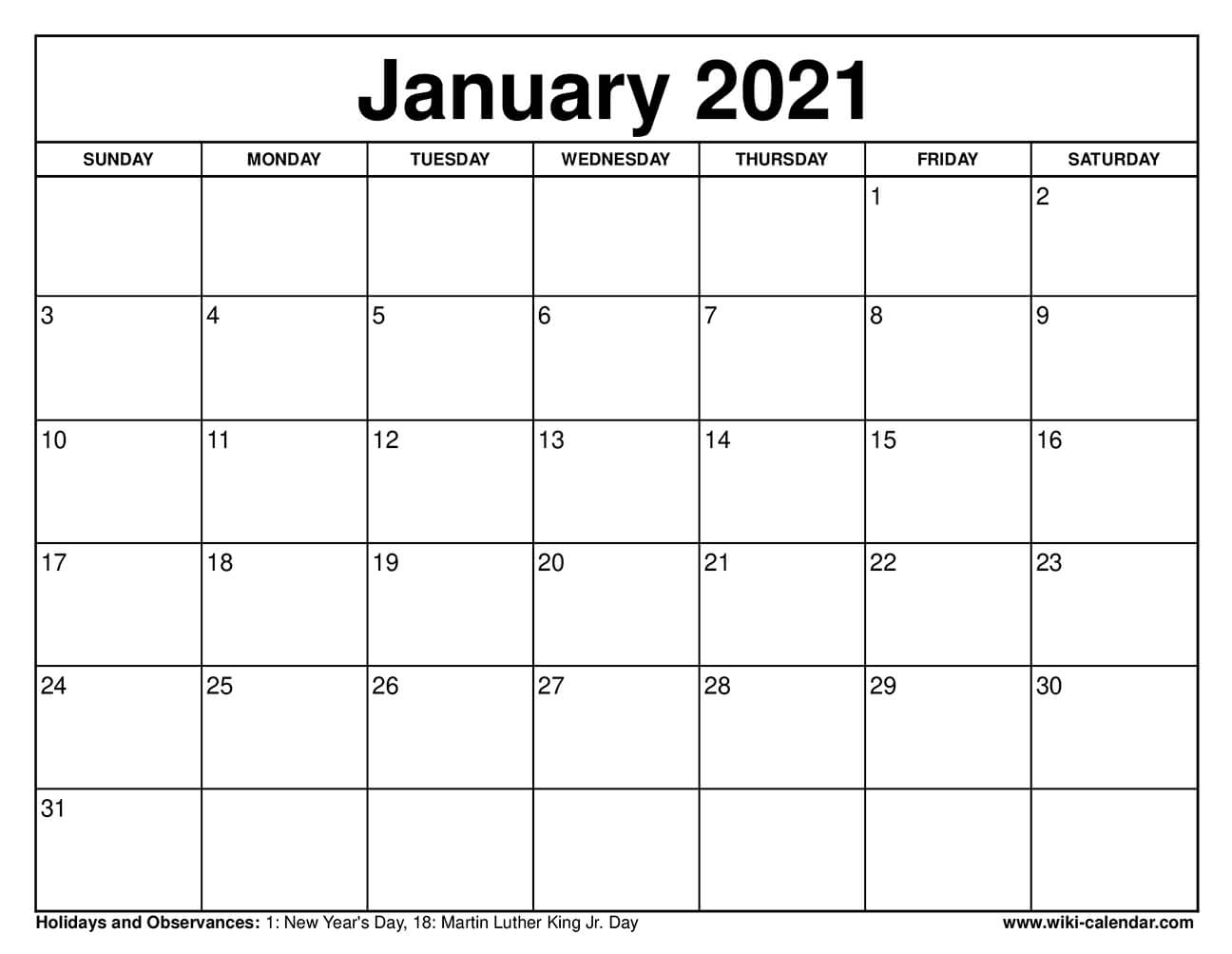 Free Printable January 2021 Calendars for Printfree Calendar 2021 With Date Boxes