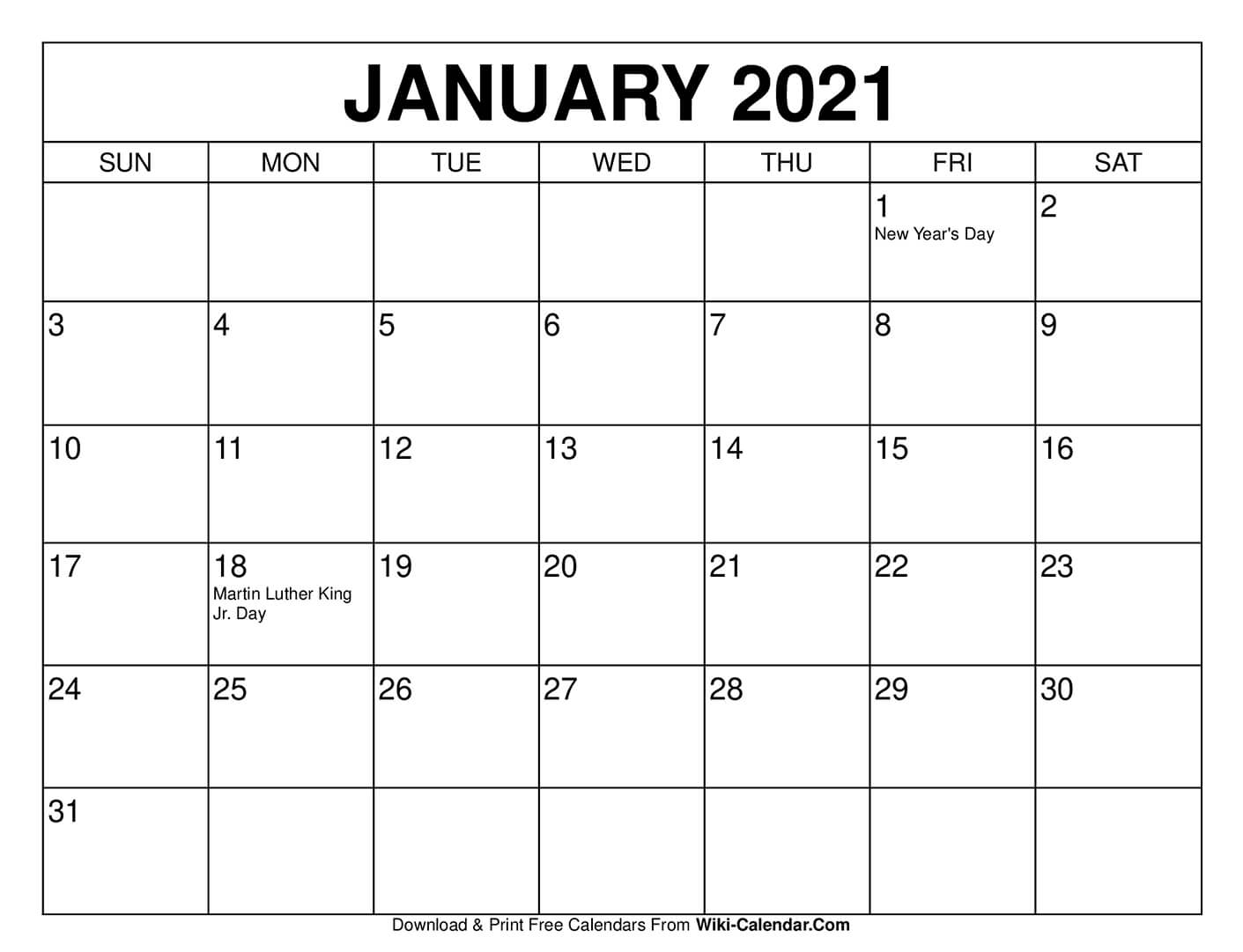Free Printable January 2021 Calendars in Printable Fill In Calendar 2021