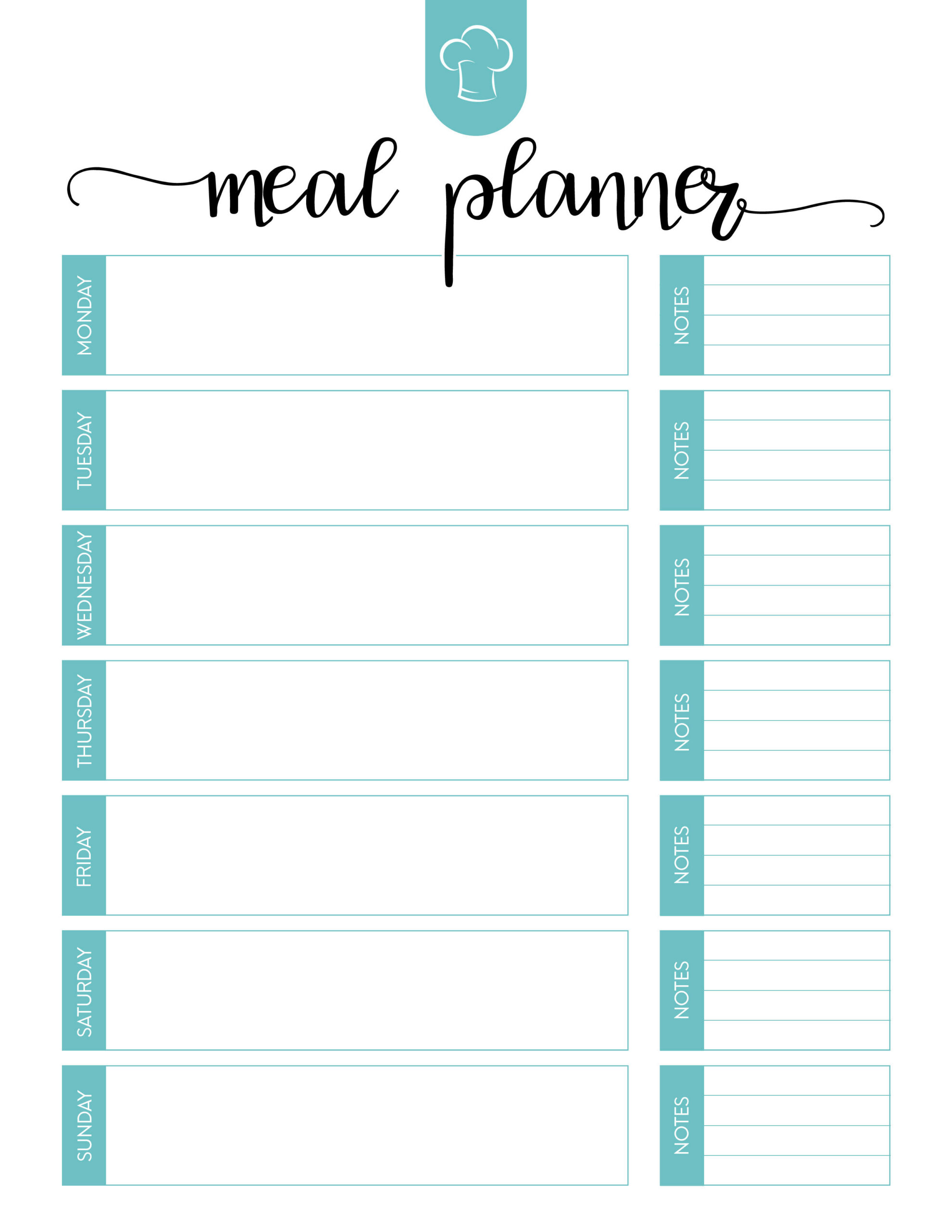 Free Printable Meal Planner Set - The Cottage Market with Free Printable Monthly Menu Calendar