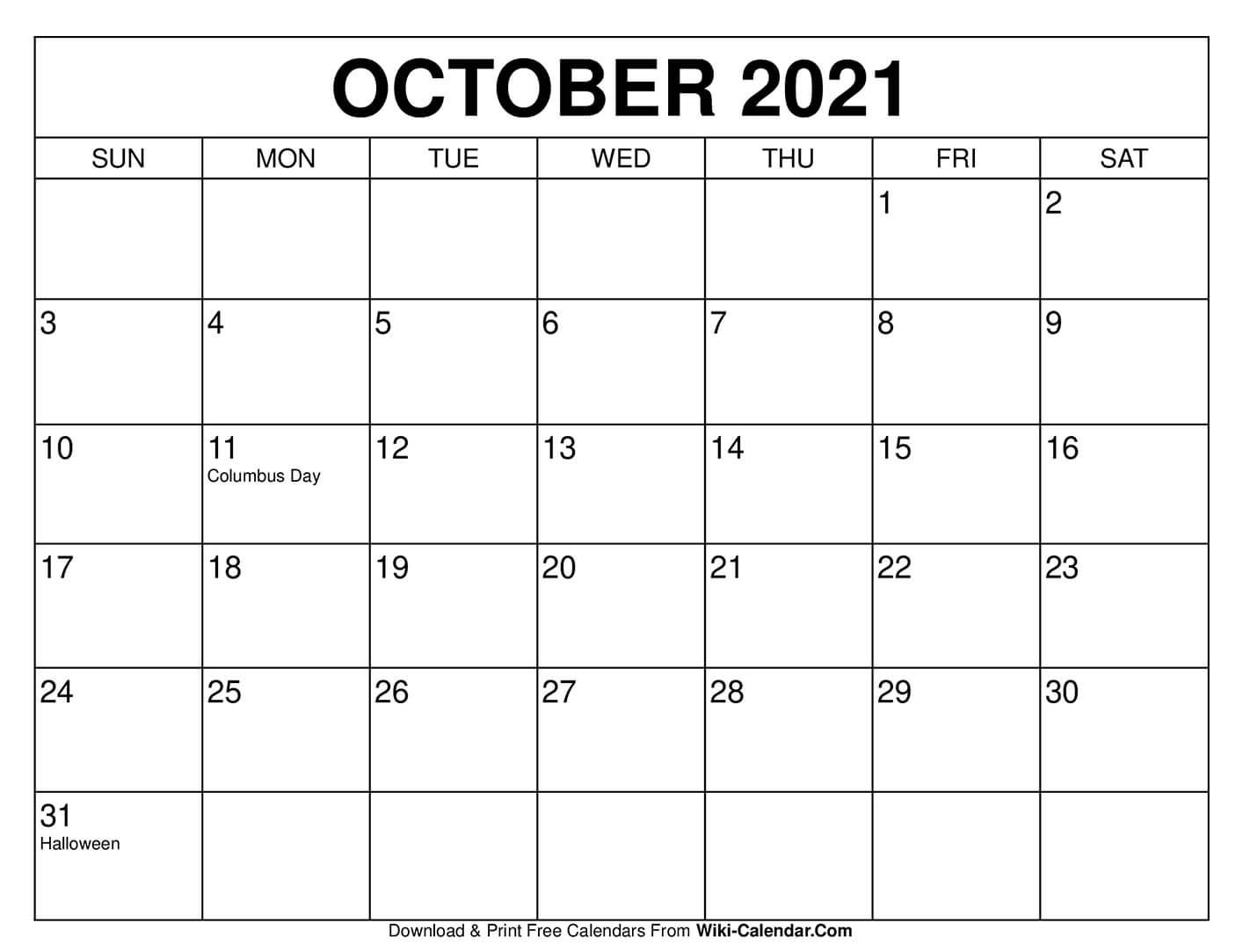 Free Printable October 2020 Calendars in 8.5 X 11 Printable Calendars
