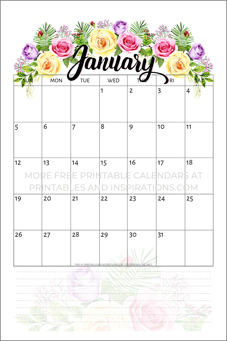 Free Printable Pretty Roses Calendar For 2021 - Printables pertaining to Tropical Floral: Calendar 2021 Monthly