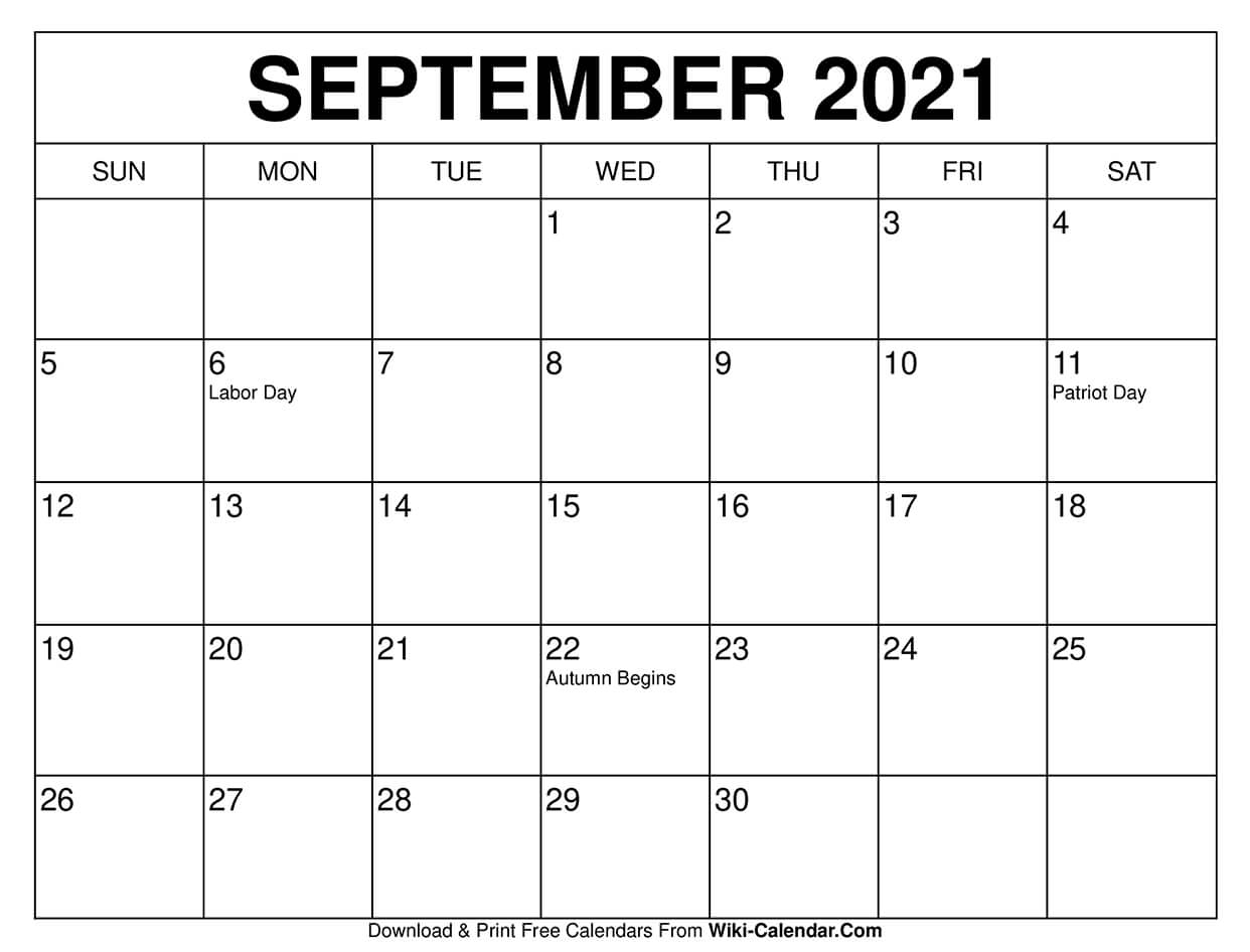 Free Printable September 2020 Calendars with September 2021 Calendar Printable