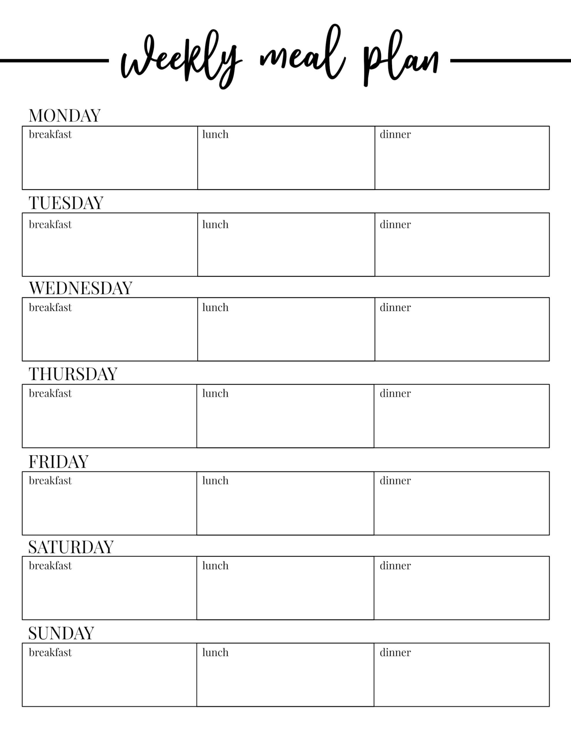 Free Printable Weekly Meal Plan Template   Paper Trail Design inside Free Printable Monthly Menu Calendar