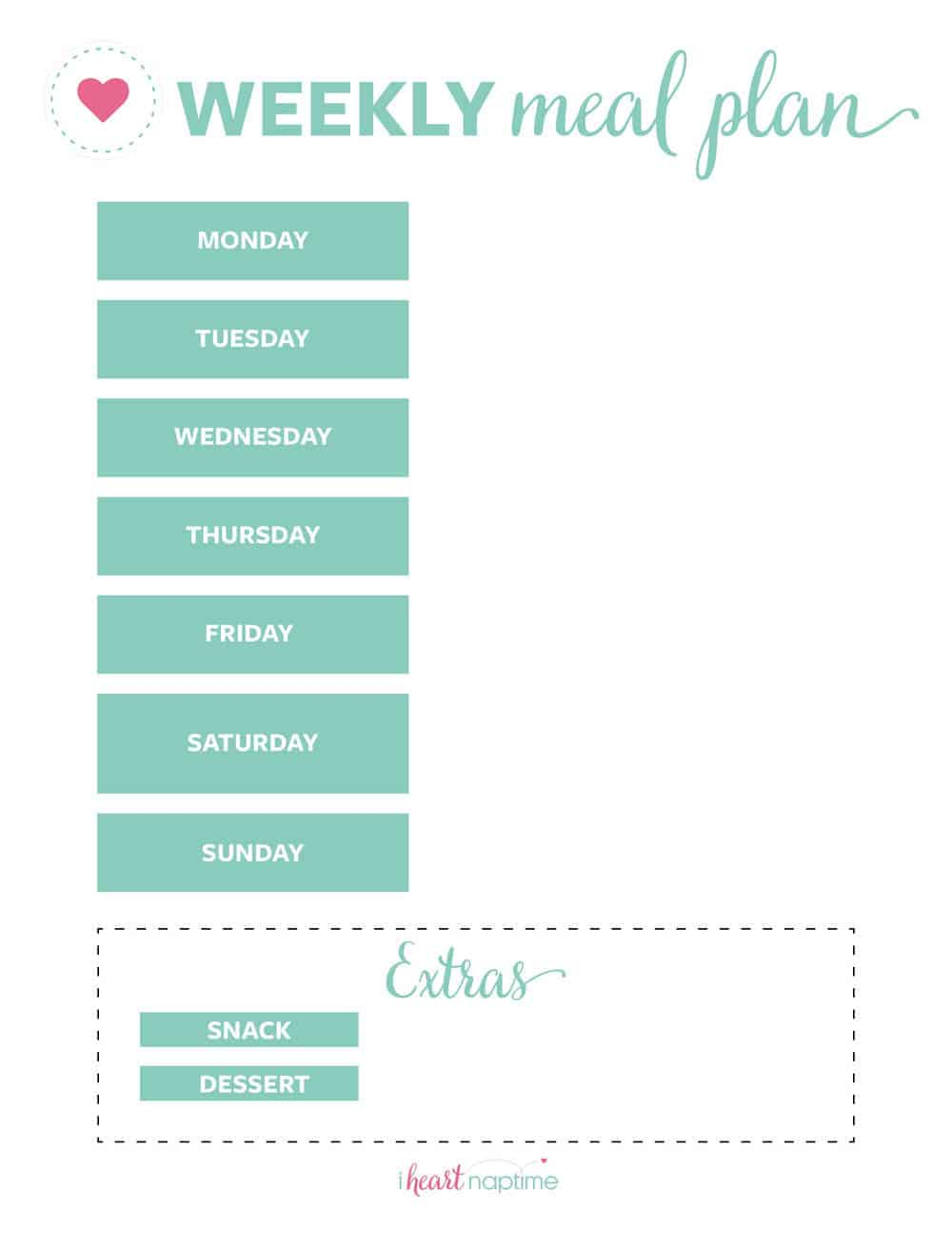 Free Printable Weekly Meal Plan Templates - I Heart Naptime throughout Free Printable Monthly Menu Calendar