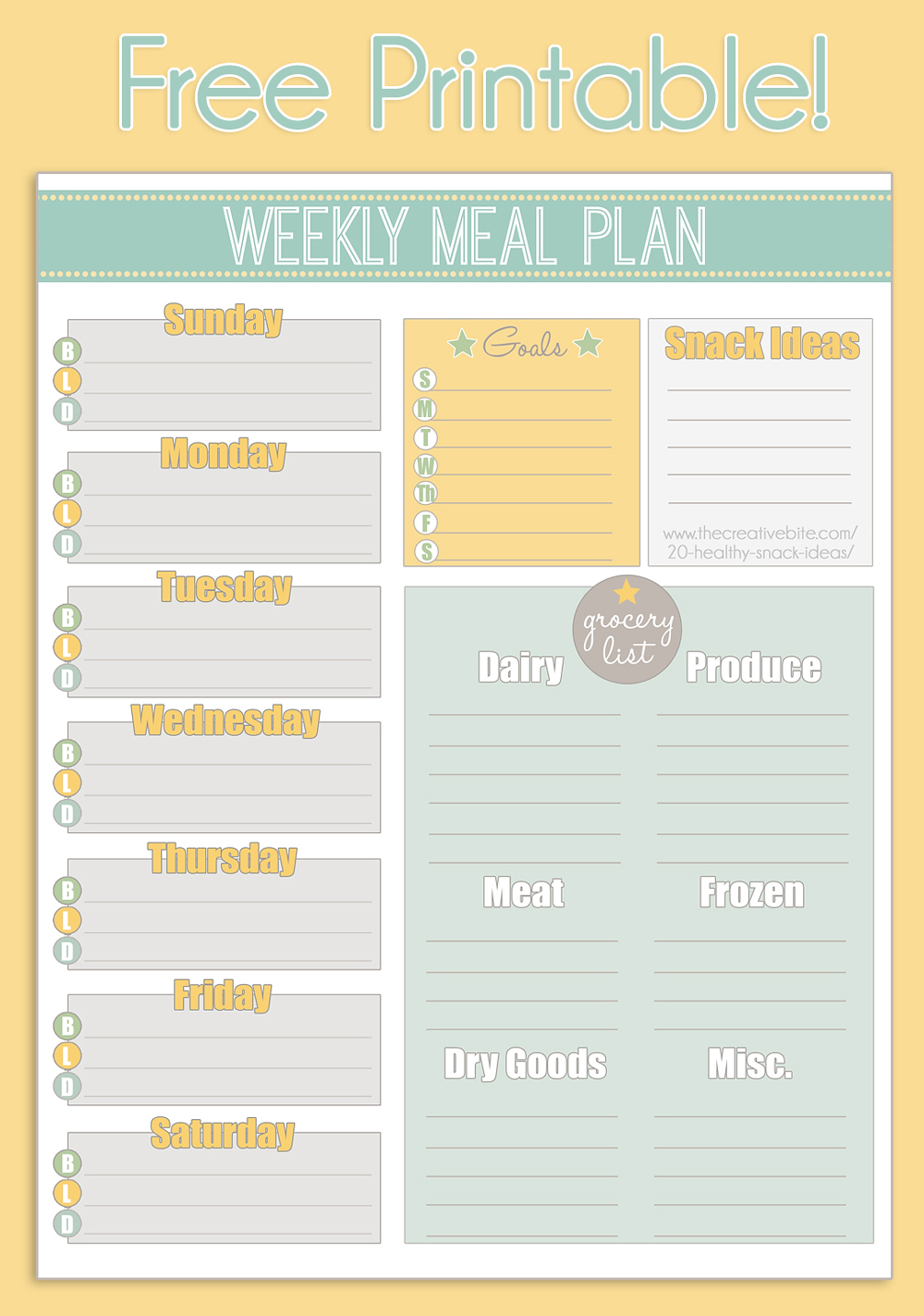 Free Printable Weekly Meal Planner + Calendar with regard to Free Printable Monthly Menu Calendar
