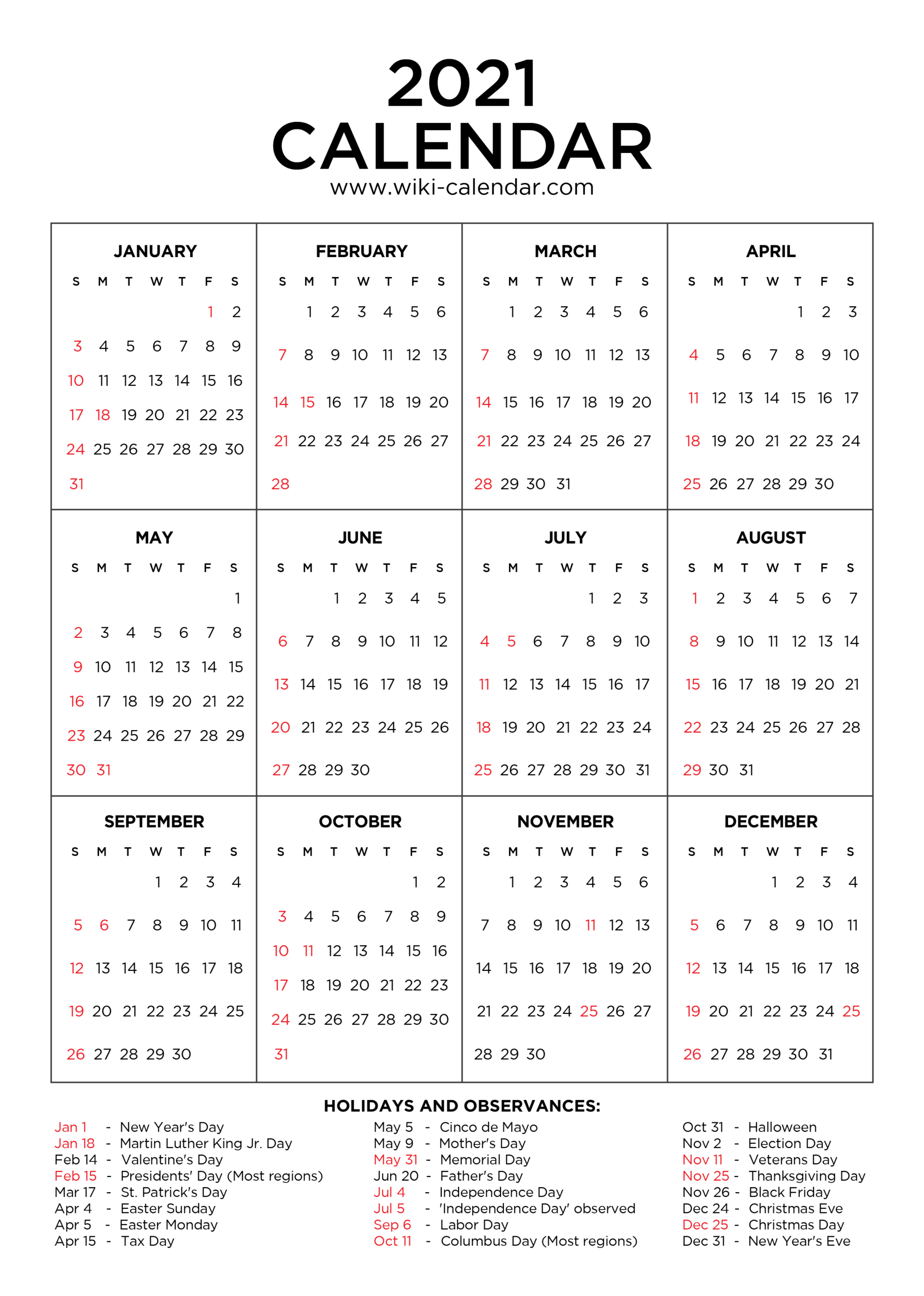 Free Printable Year 2021 Calendar With Holidays for Print Free 2021 Calendar Without Downloading