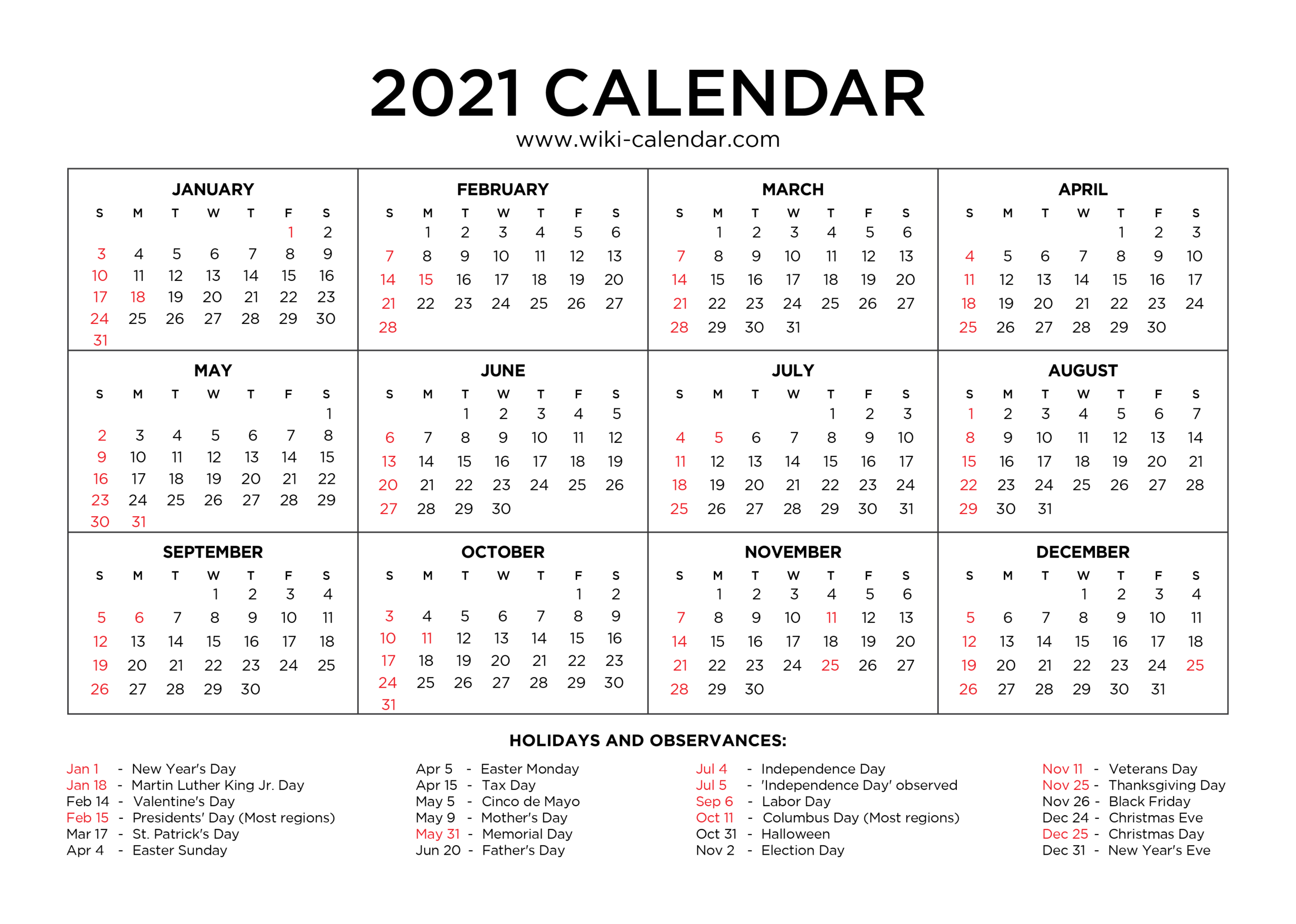 Free Printable Year 2021 Calendar With Holidays in Print Free 2021 Calendar Without Downloading