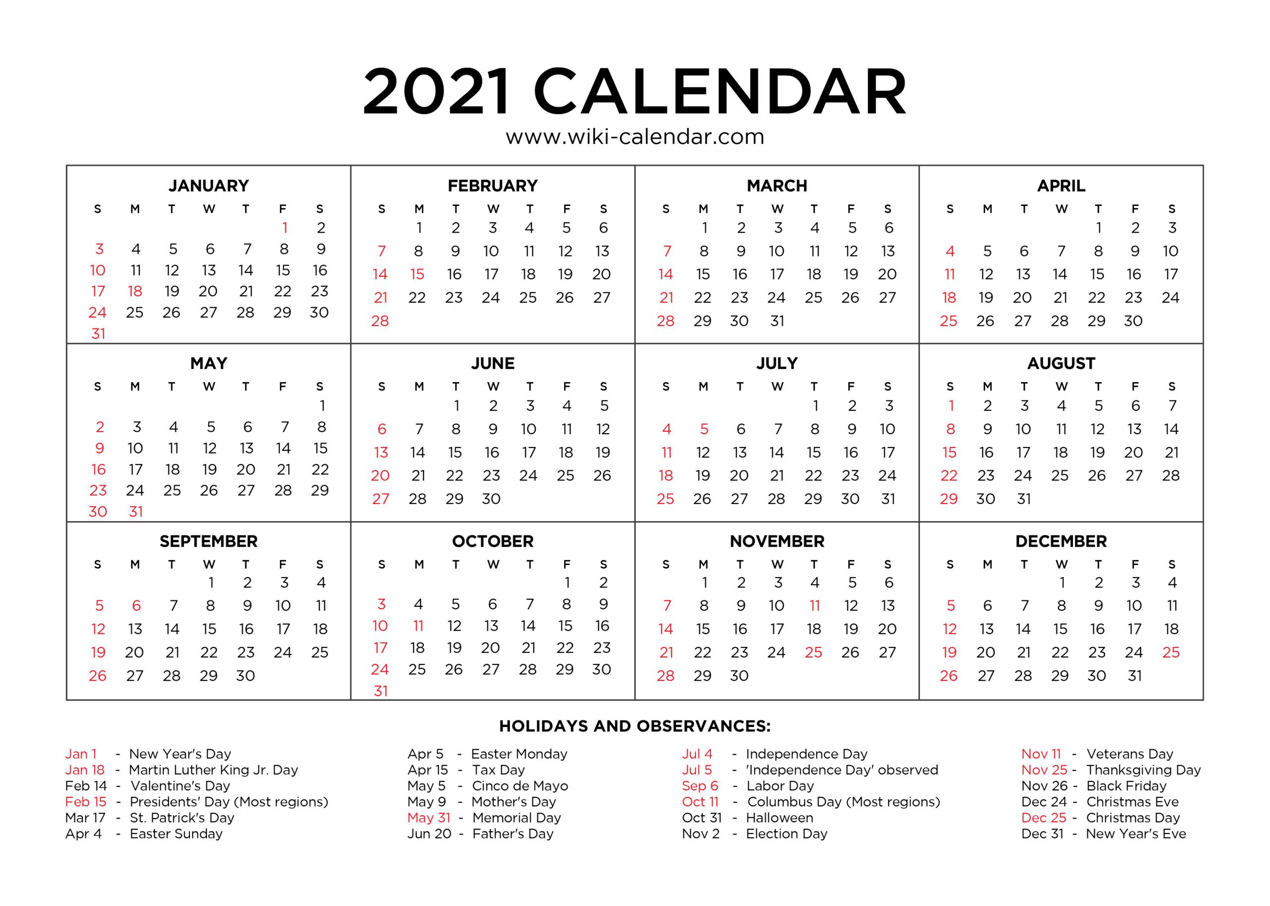 Free Printable Year 2021 Calendar With Holidays regarding Calendar Fill In 2021