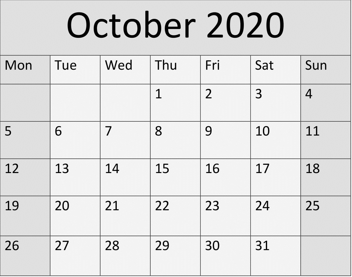 Free Printable Yearly 2020 Calendar And Holiday Templates throughout Bring Up A Calendar For October