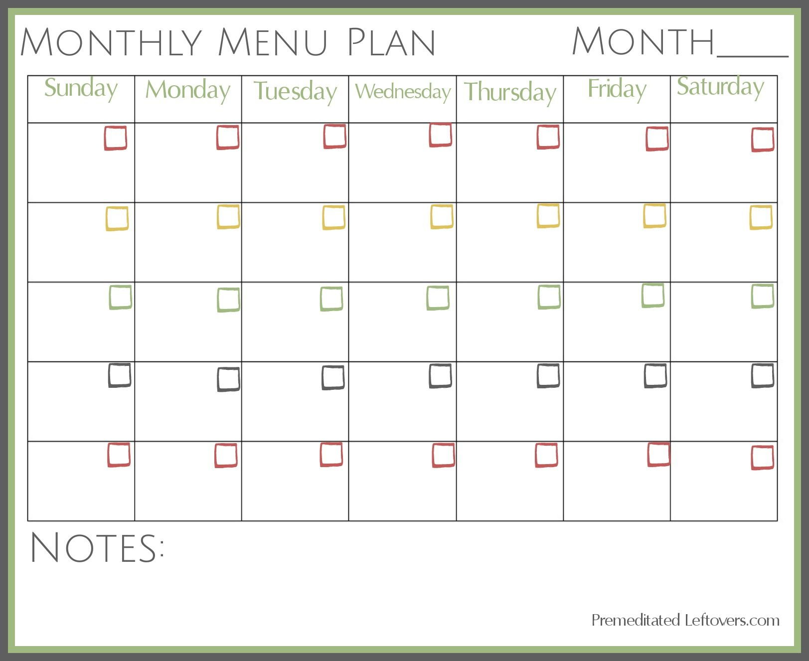 Free Printables   Meal Planner Template, Monthly Meal intended for Free Printable Monthly Menu Calendar