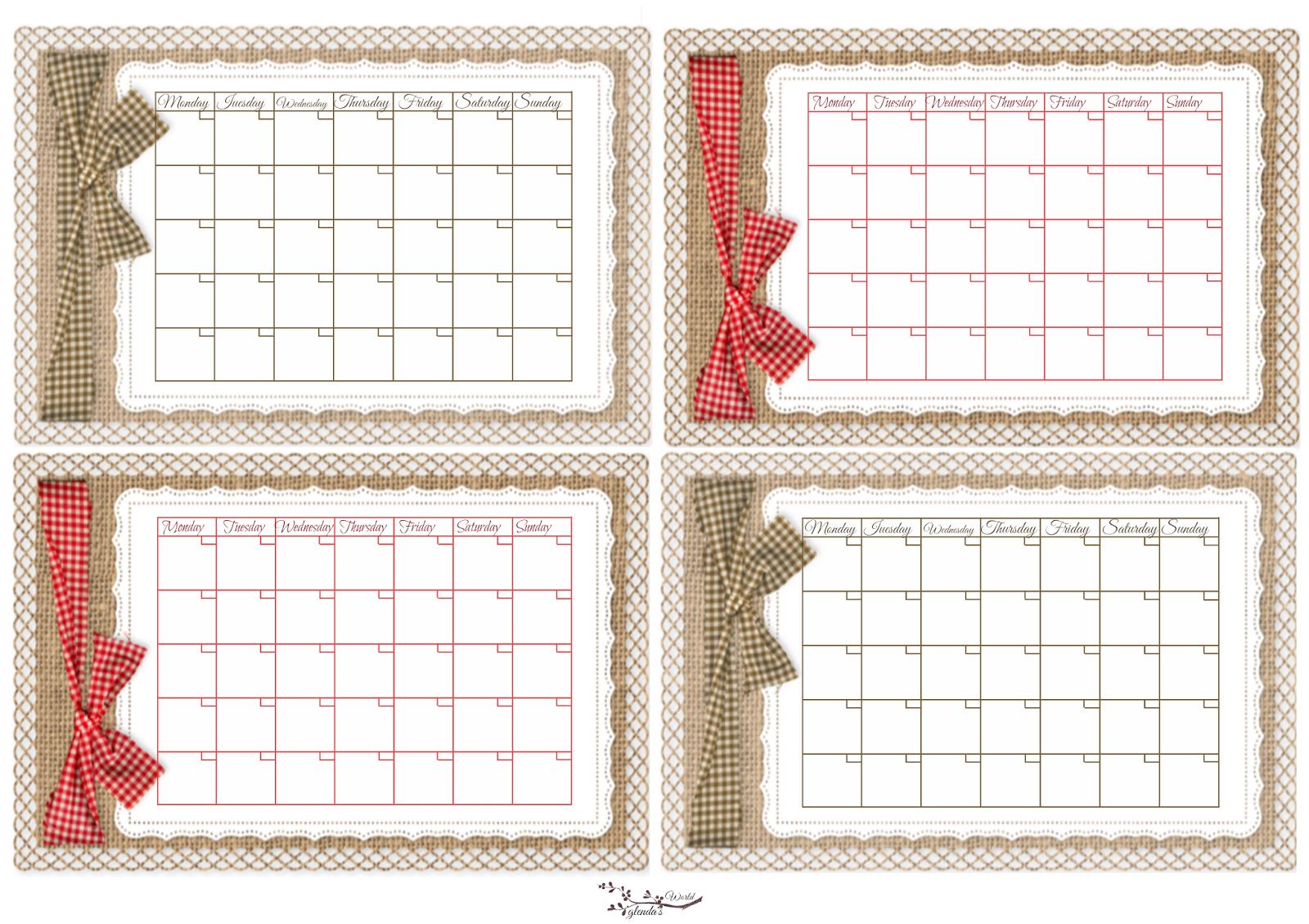 Glenda'S World : Universal Calendars   Calendar Printables regarding Free Printable Small Pocket Calendars