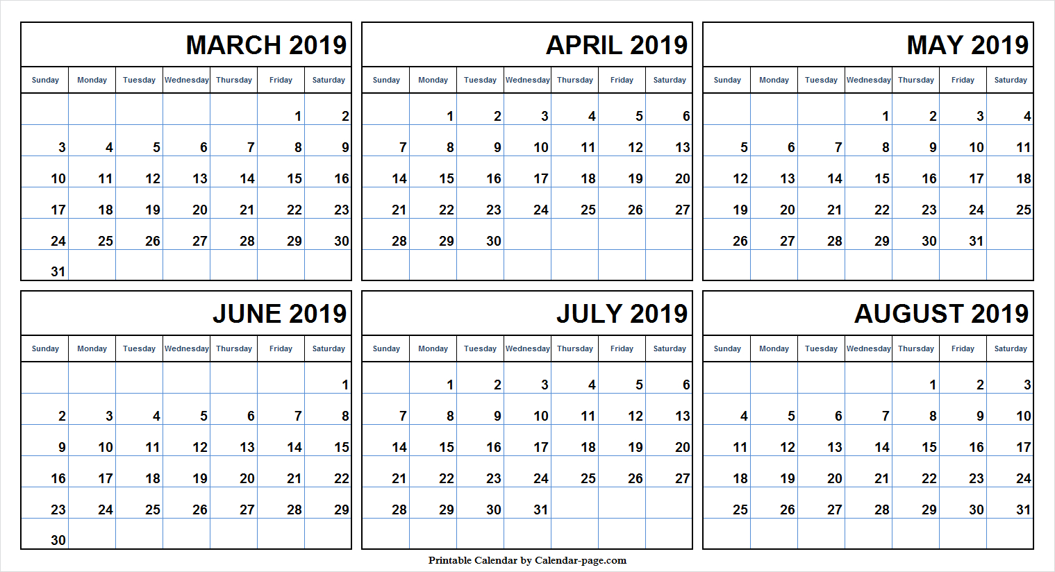 Half Year March August 2019 Calendar | Blank 6 Month Calendar intended for Half-Page Yearly Callendar