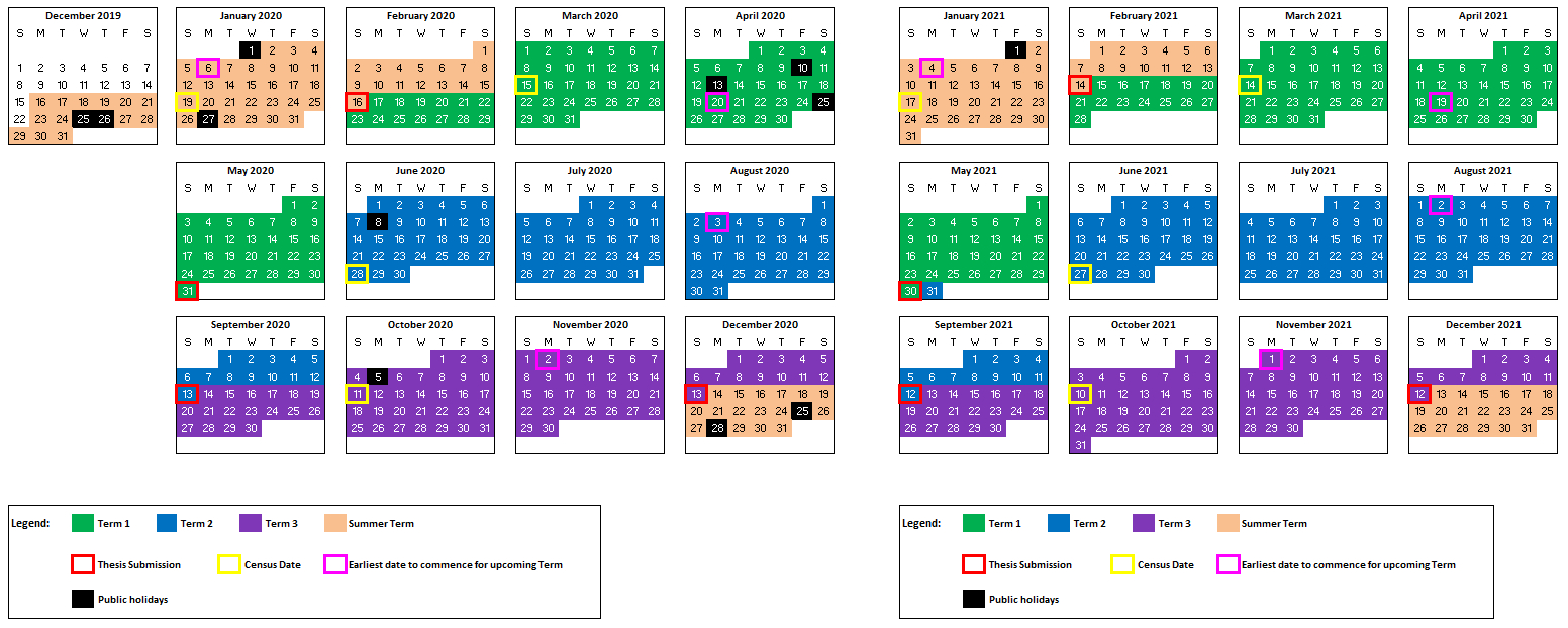 Hdr Academic Calendar | Unsw Research for Academic Diary August 2021 To August