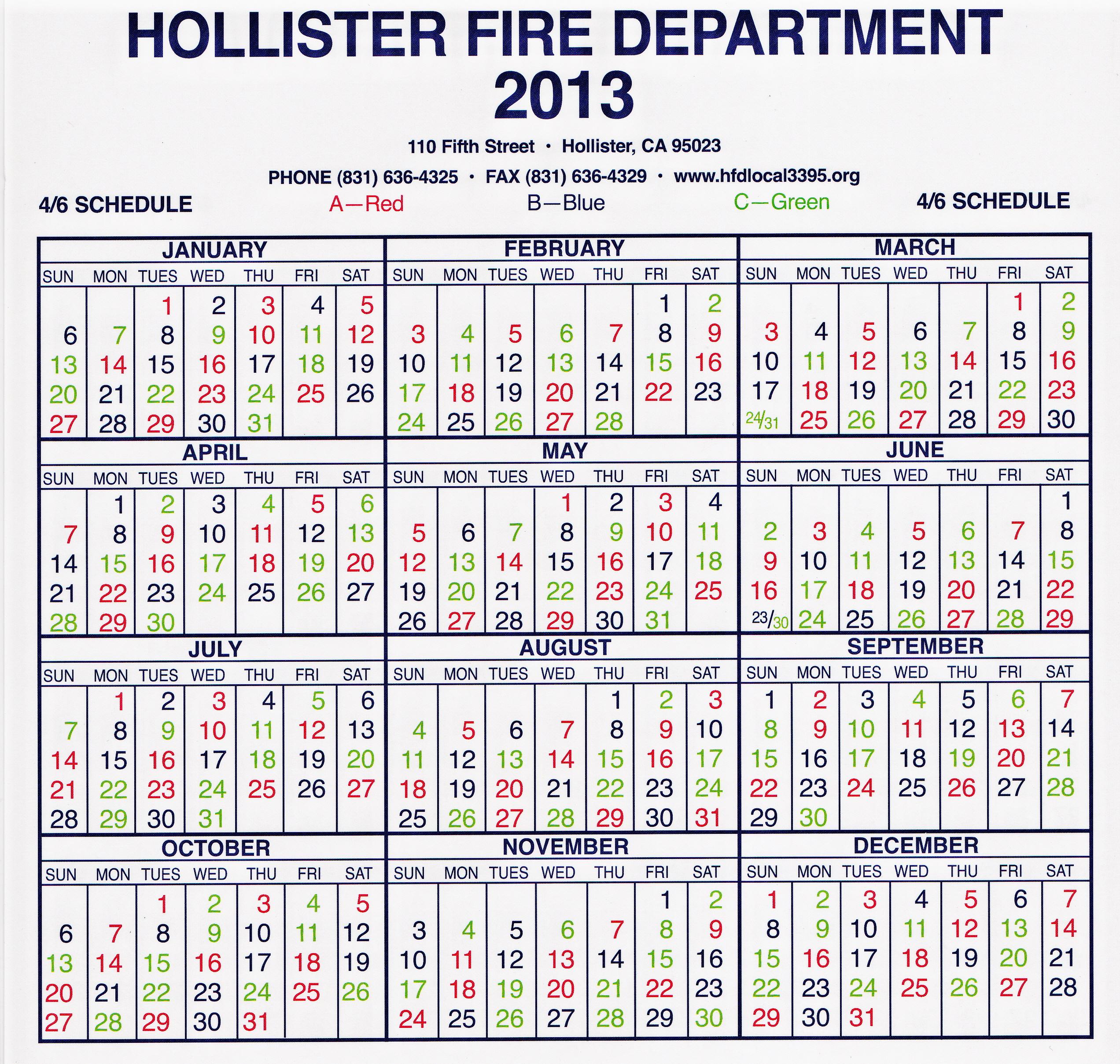 Hollister Fire Department Local 3395 - Shift Calendar regarding Hfd Shift Calendar