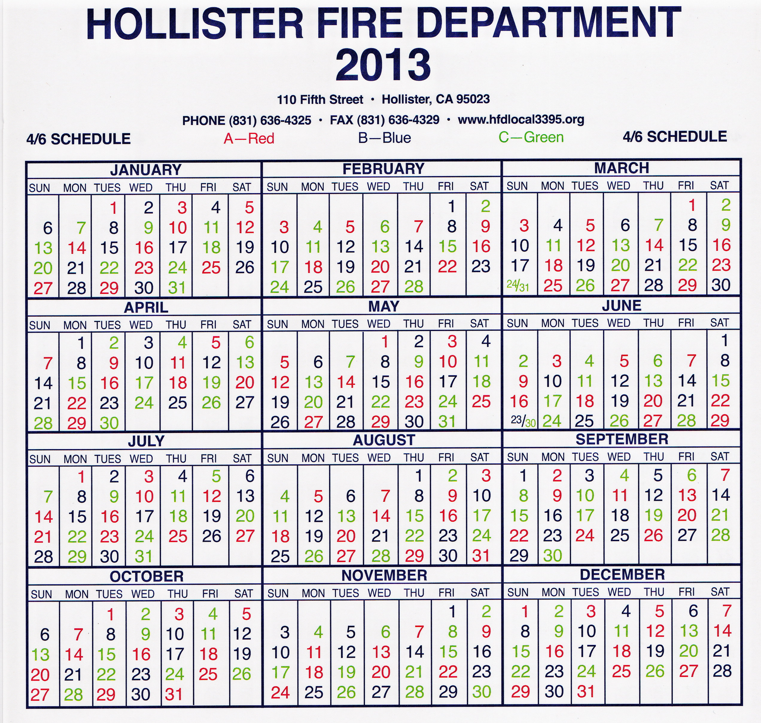 Hollister Fire Department Local 3395 - Shift Calendar within Fire Shift Calendar