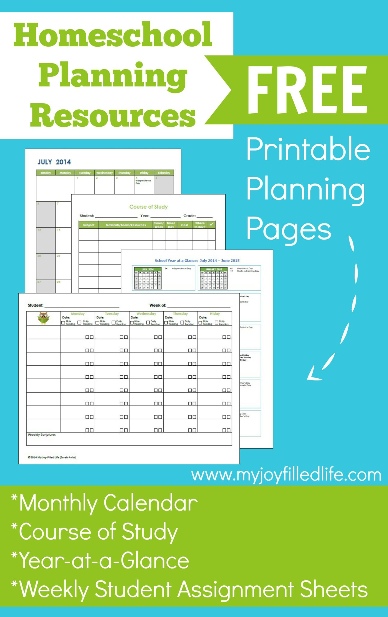 Homeschool Planning Resources & Free Printables - My Joy in Lesson Plan Calendar Template 2021