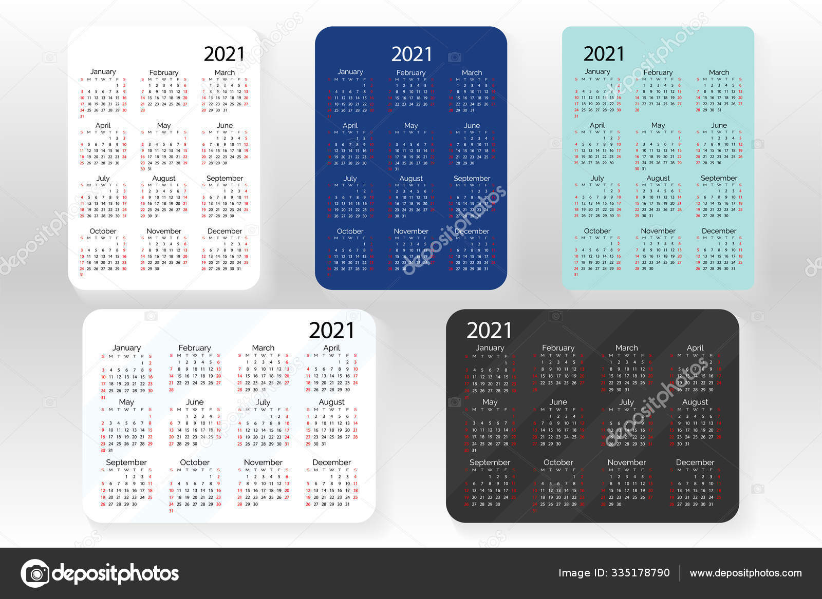 Horizontal And Vertical Set Of Vector Pocket Calendar 2021 Year. 335178790 intended for Pocket Calendars 2021