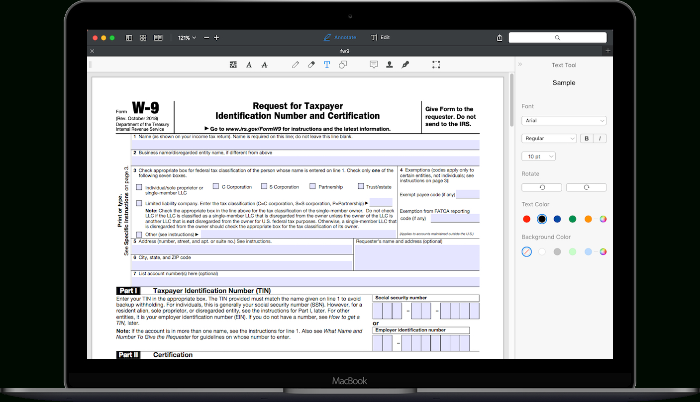 How To Fill Out Irs Form W-9 2019-2020 | Pdf Expert inside Free Fillable W 9 Form