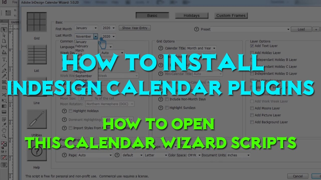 How To Install Indesign Calendar Plugins | How To Open This Calendar Wizard  Scripts (Gd Alam) regarding Indesign Calendar Wizard