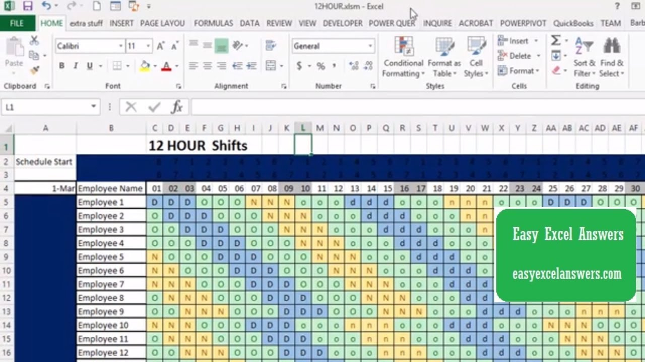 How To Make An Automatic 12-Hour Shift Schedule with Shift Yearly Plan