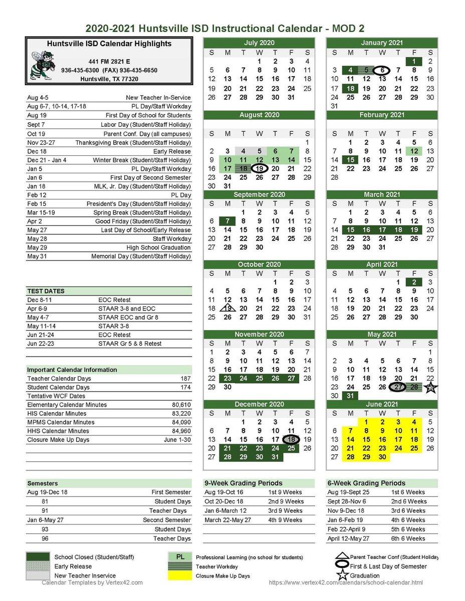 """Huntsville Isd On Twitter: """"Calendar Alert: On Thurs, July with Vertex Academic Calendar"""
