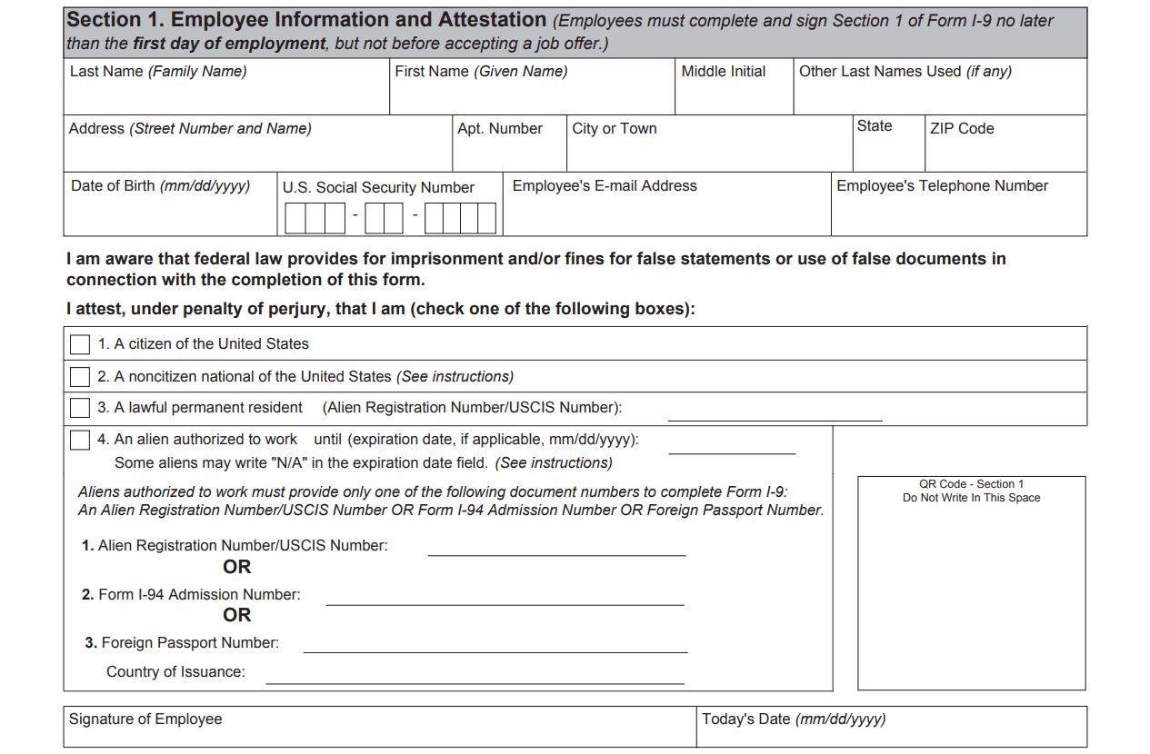 I9 Form 2020 - I-9 Forms throughout 2021 I-9 Form Printable