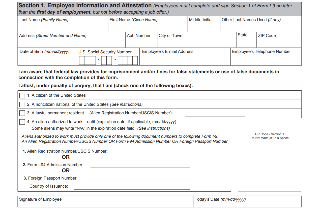 I9 Form 2020 - I-9 Forms with regard to Blank I9 Form