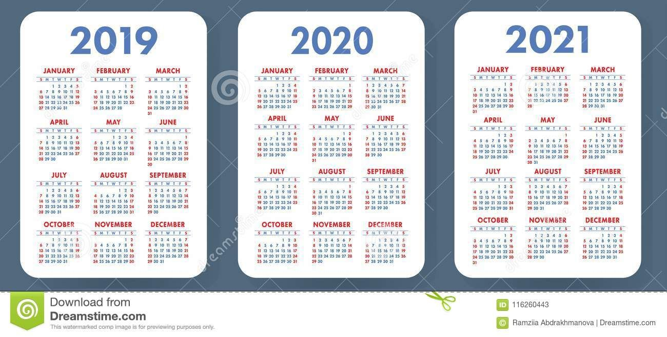 Illustration About Pocket Calendar 2019, 2020, 2021 Set in 2021 Pocket Calendar