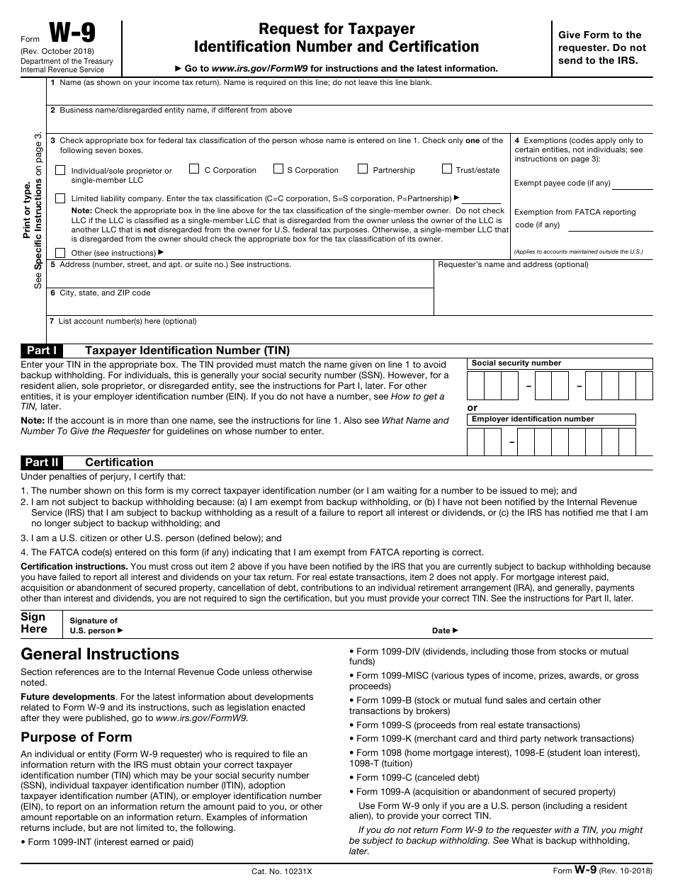Irs Form W-9 Download Fillable Pdf Or Fill Online Request for Irs Form W 9 Fillable Pdf