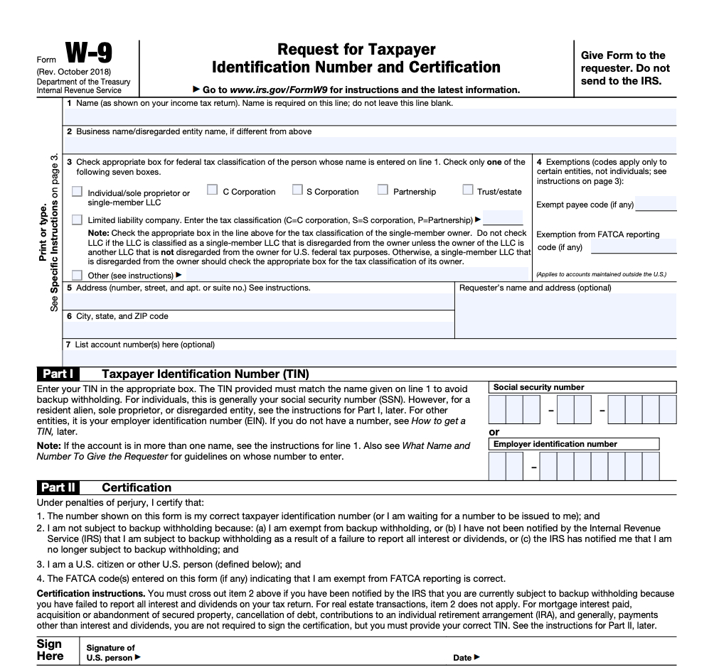 Irs Form W-9 | Zipbooks with regard to Blank W 9 Form To Print
