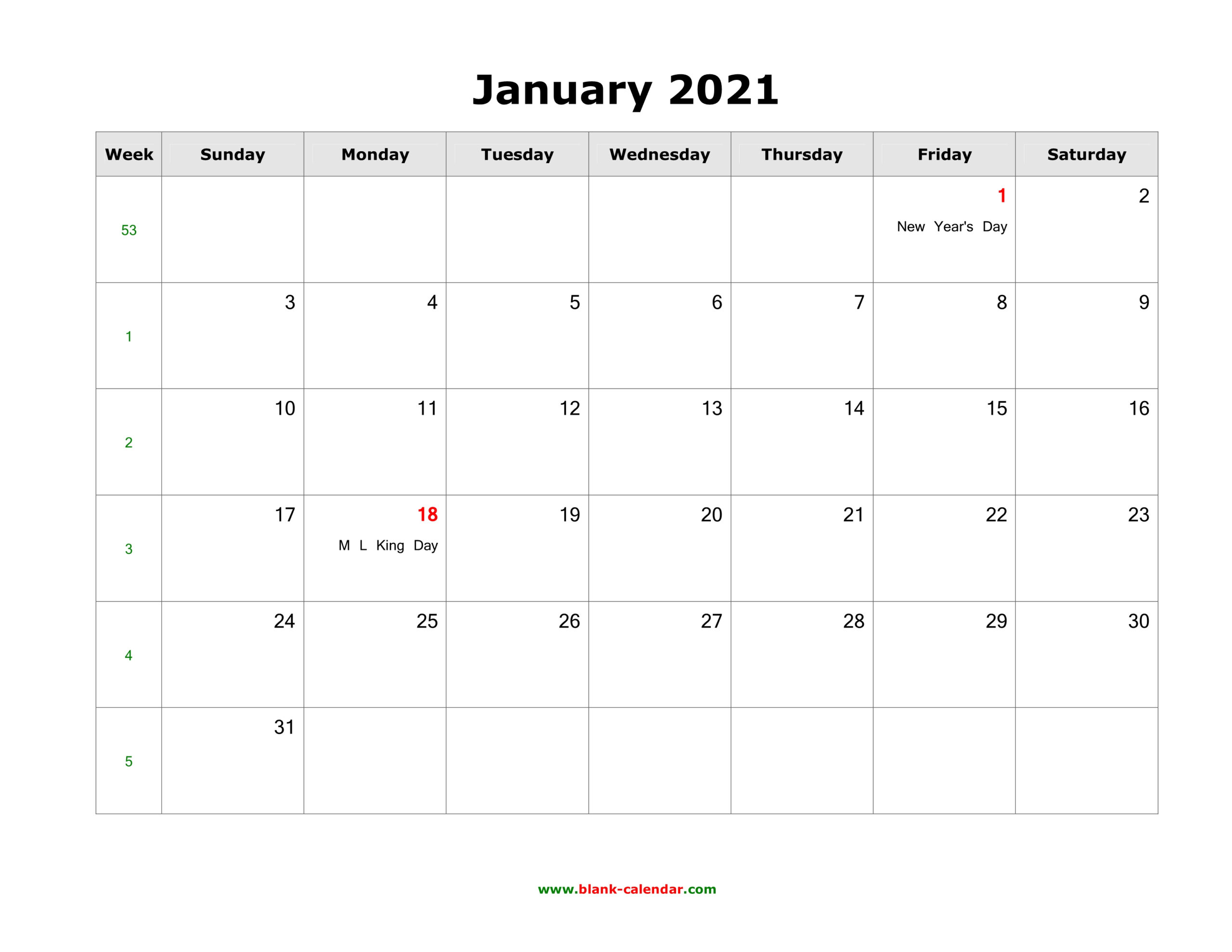 January 2021 Blank Calendar | Free Download Calendar Templates throughout 2021 Fillable Calendar Free Printable