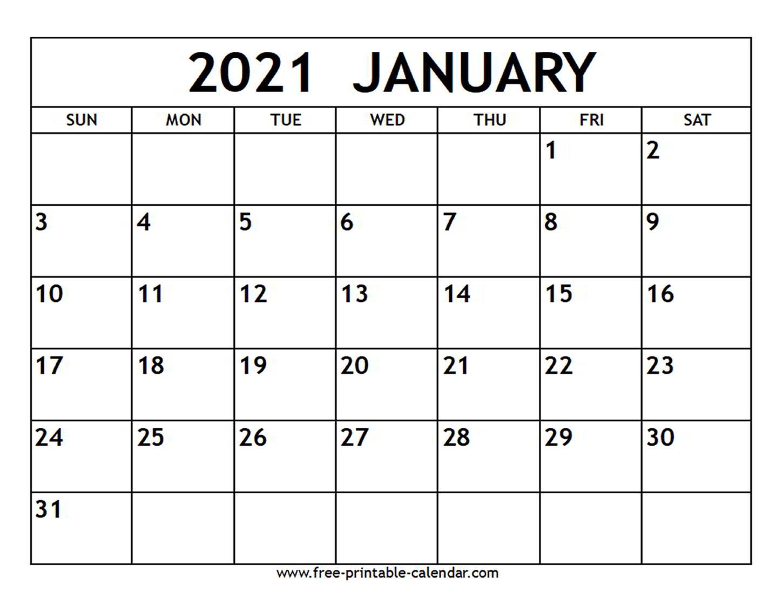 January 2021 Calendar - Free-Printable-Calendar inside Calendar Fill In 2021