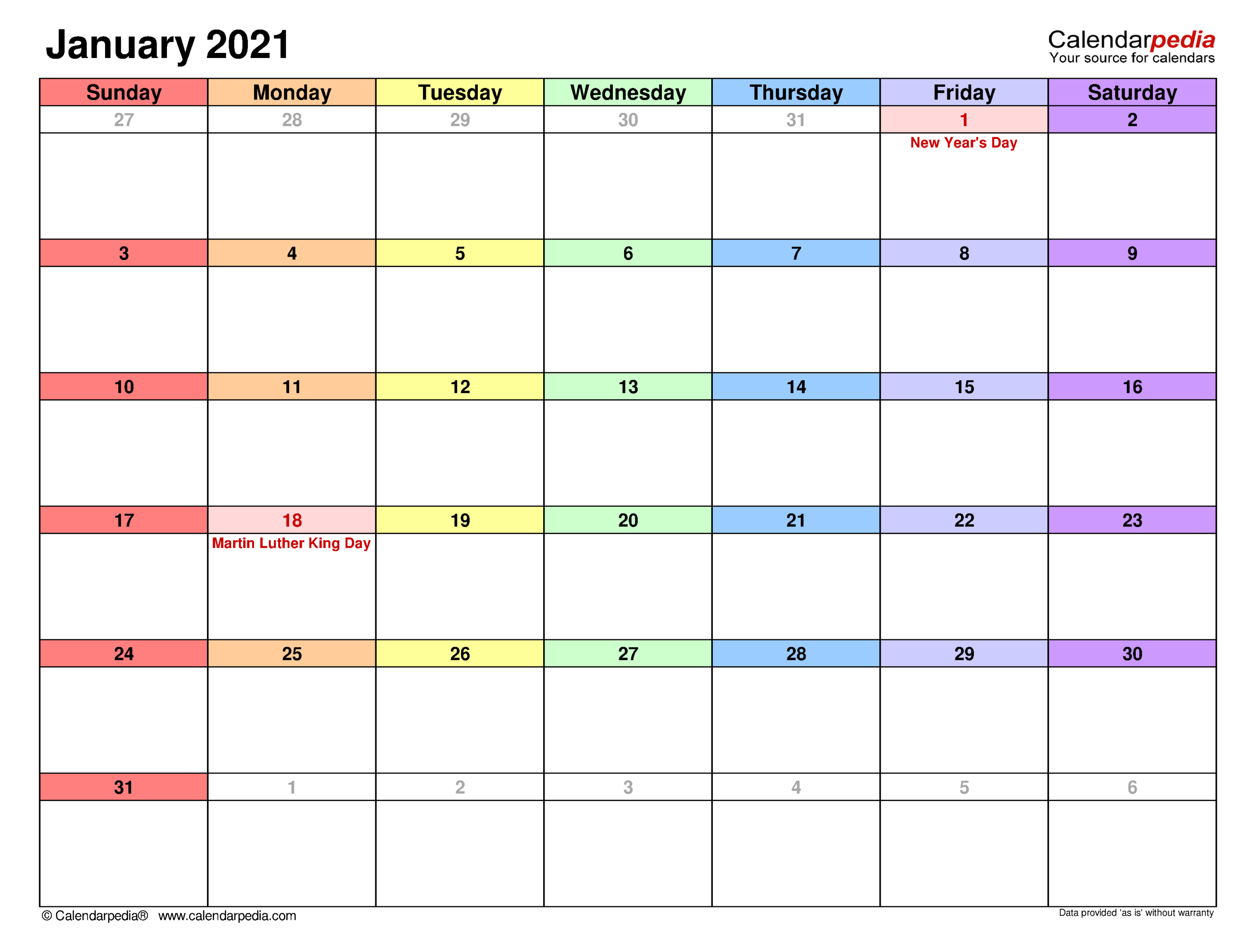 January 2021 Calendar | Templates For Word, Excel And Pdf for Shift Schedule Jan 2021