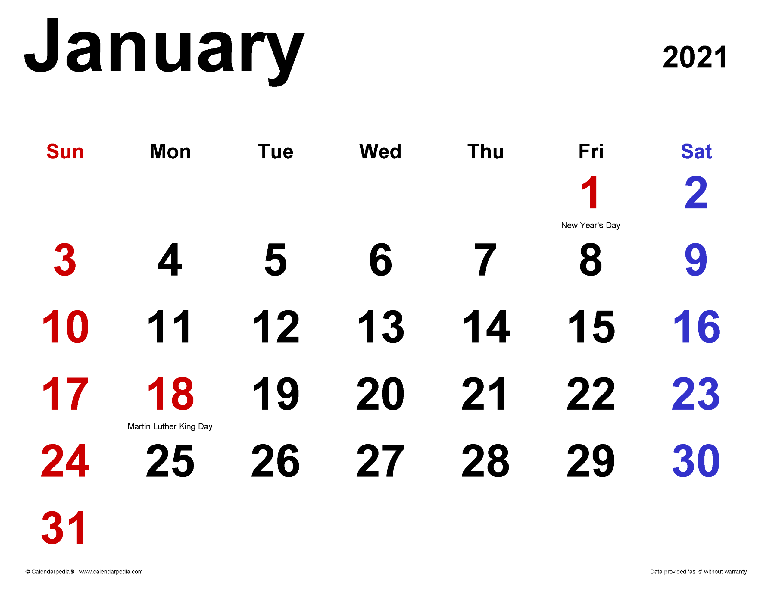January 2021 Calendar | Templates For Word, Excel And Pdf in Shift Schedule Jan 2021