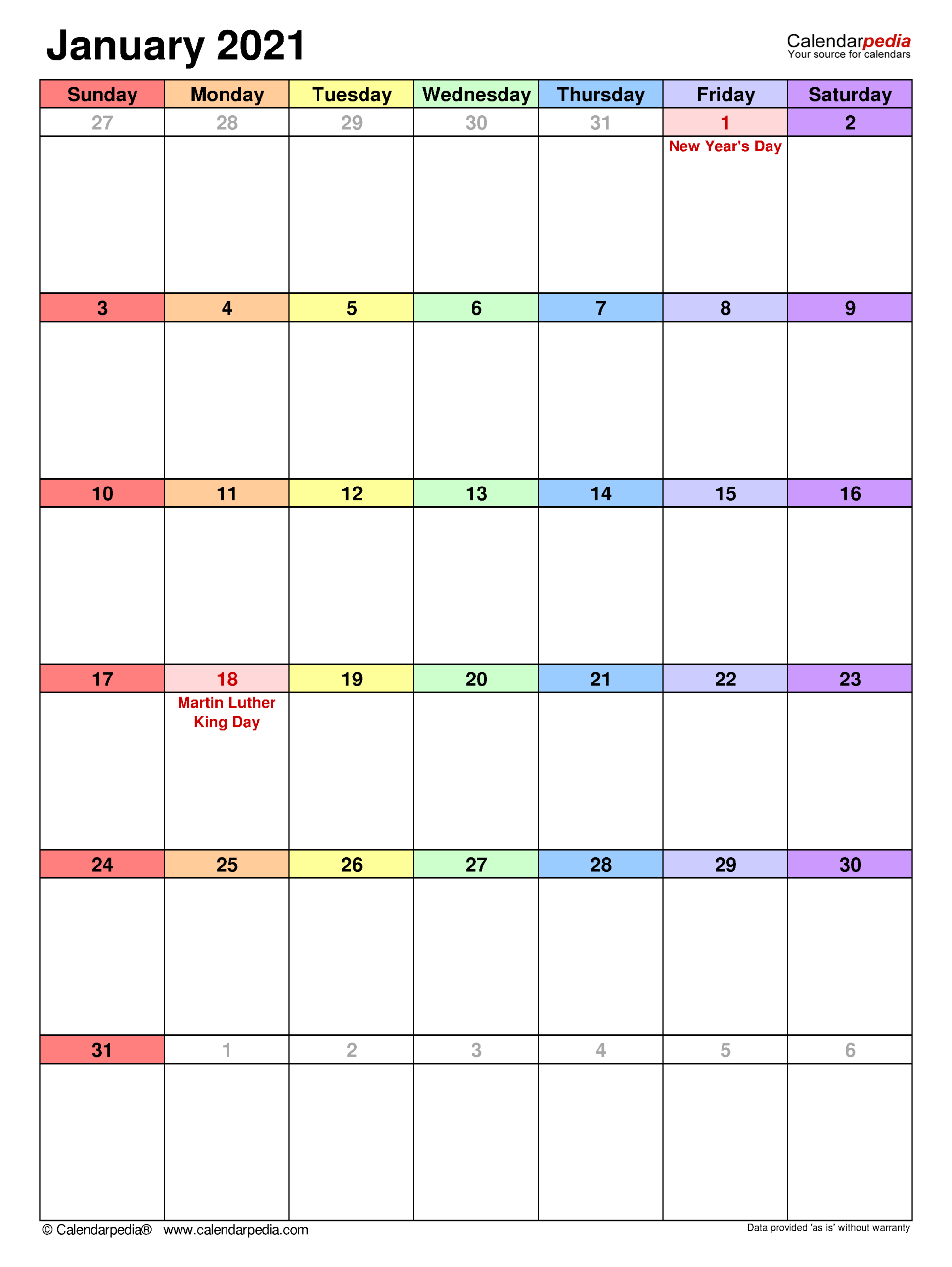 January 2021 Calendar | Templates For Word, Excel And Pdf pertaining to 2021 Fill-In Calendar