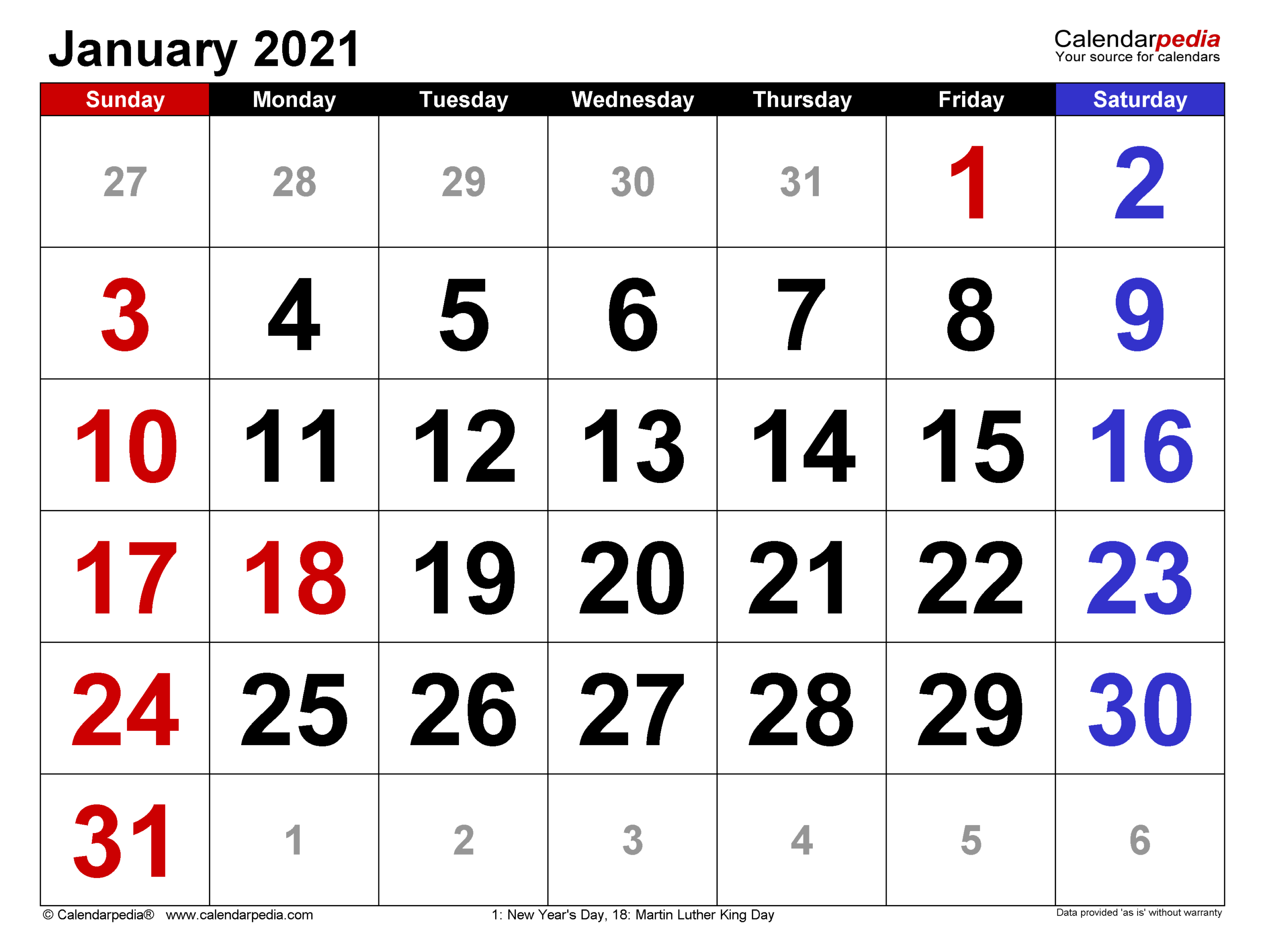 January 2021 Calendar | Templates For Word, Excel And Pdf pertaining to 2021 Large Print Calendar Monthly
