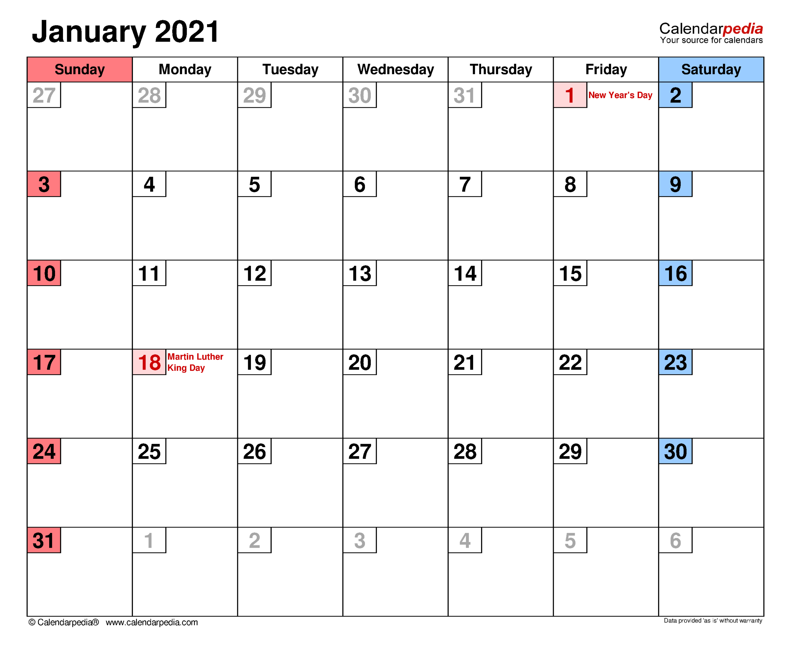 January 2021 Calendar | Templates For Word, Excel And Pdf within Shift Schedule Jan 2021